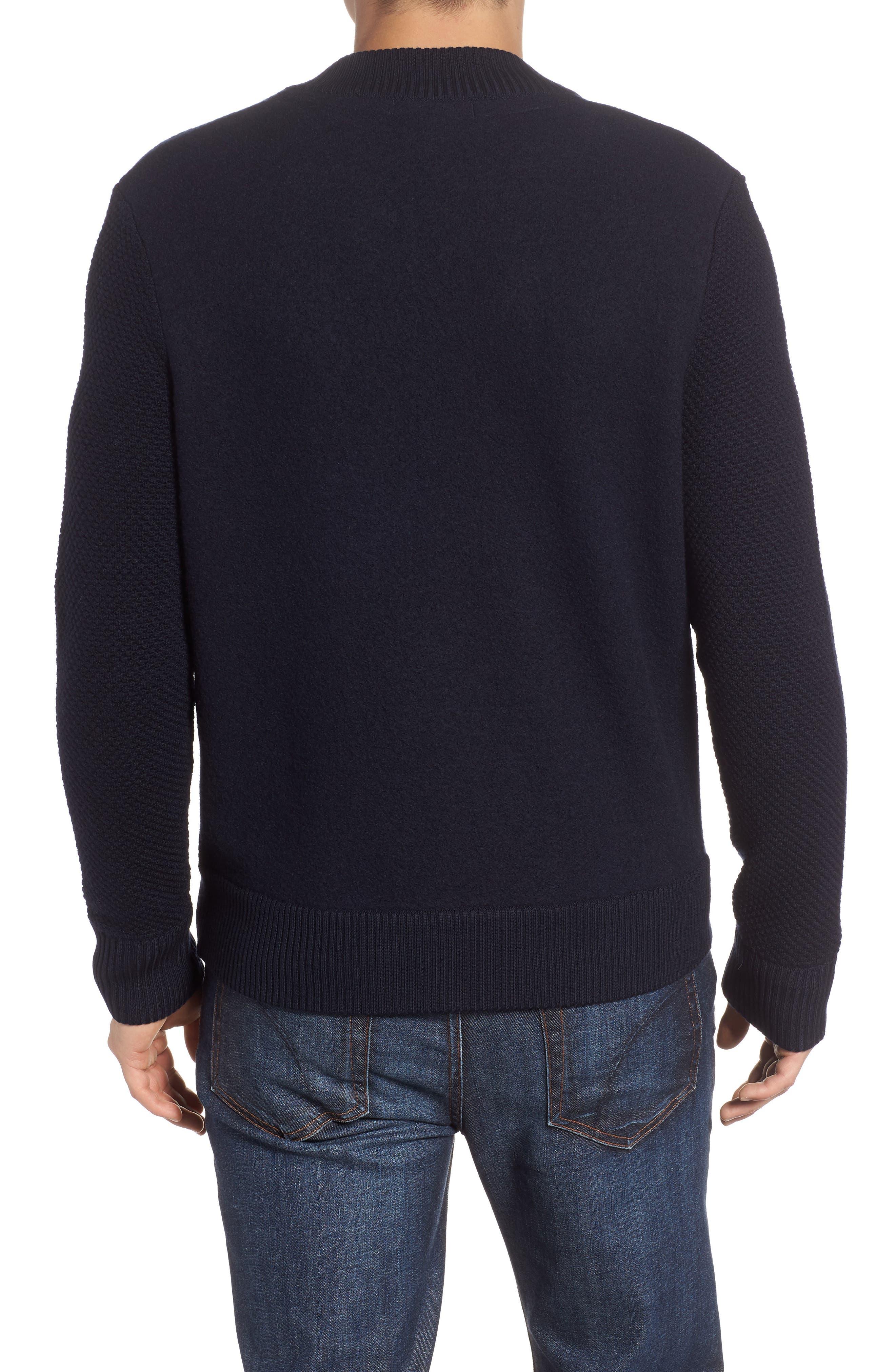 Felted Wool Bomber Jacket,                             Alternate thumbnail 2, color,                             BLUE GRAPHITE