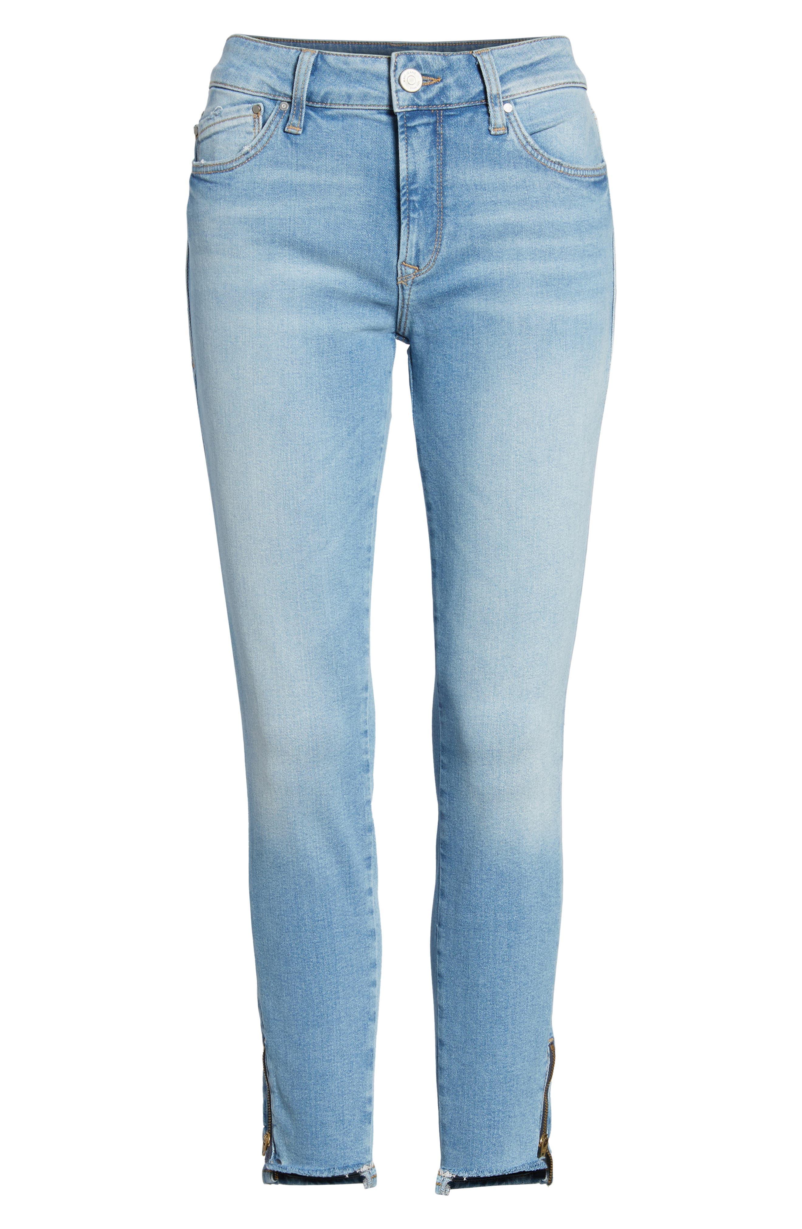 Adriana Ankle Zip Step Hem Jeans,                             Alternate thumbnail 7, color,                             420