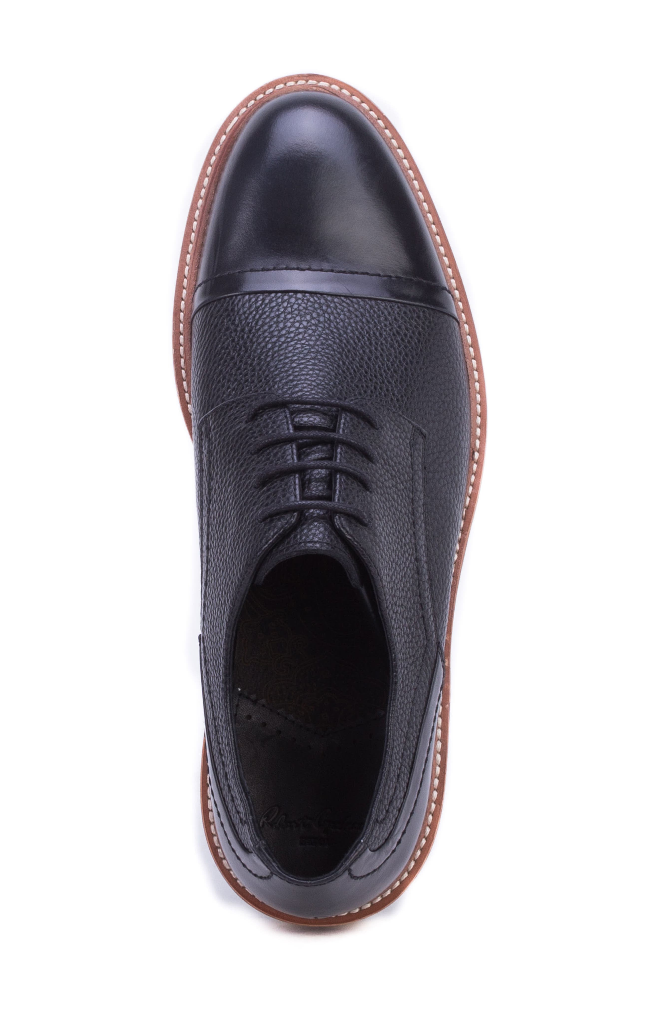 Wensley Cap Toe Derby,                             Alternate thumbnail 5, color,                             BLACK LEATHER