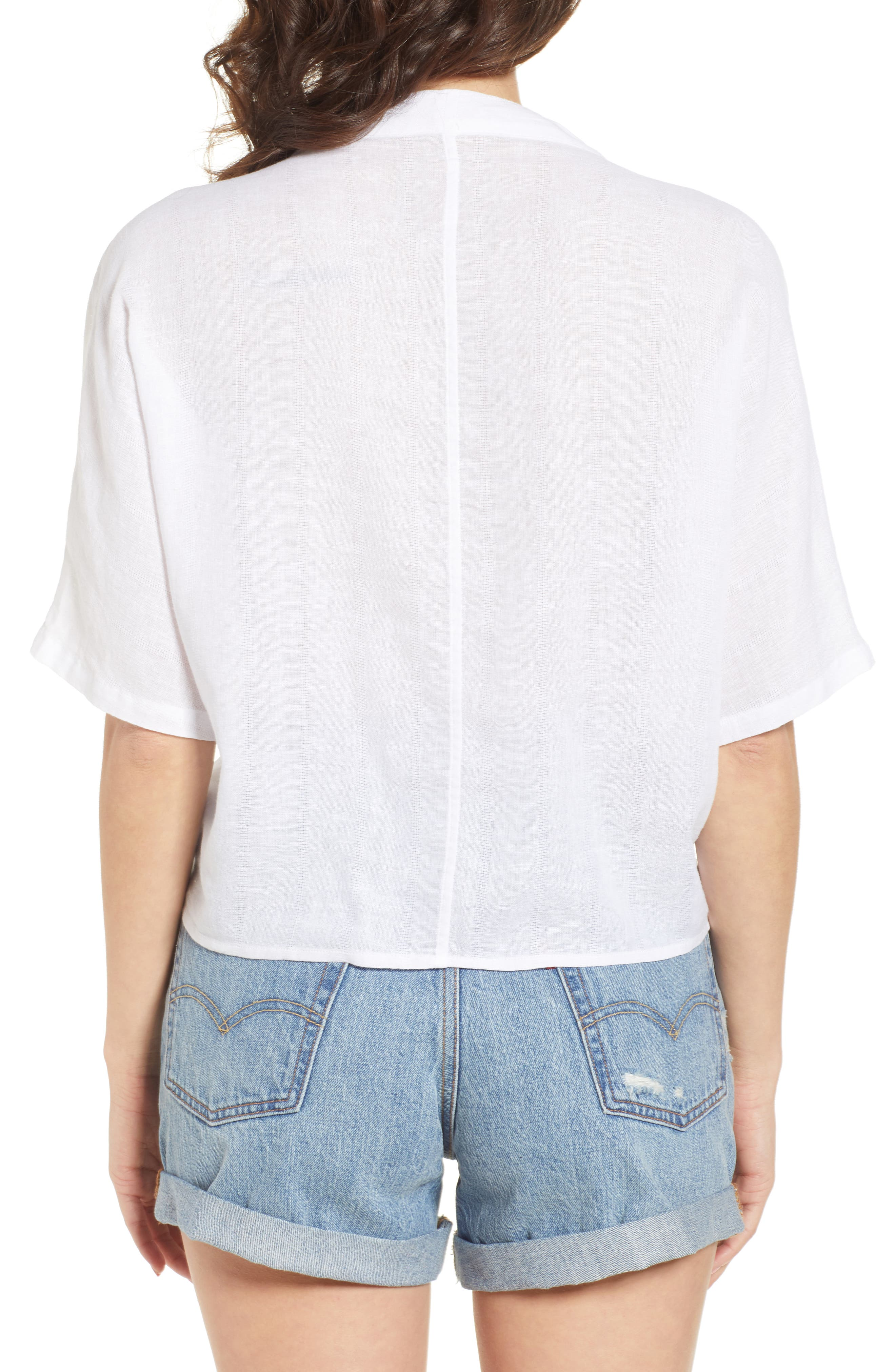 Thea Embroidered Tie Front Crop Top,                             Alternate thumbnail 2, color,                             142