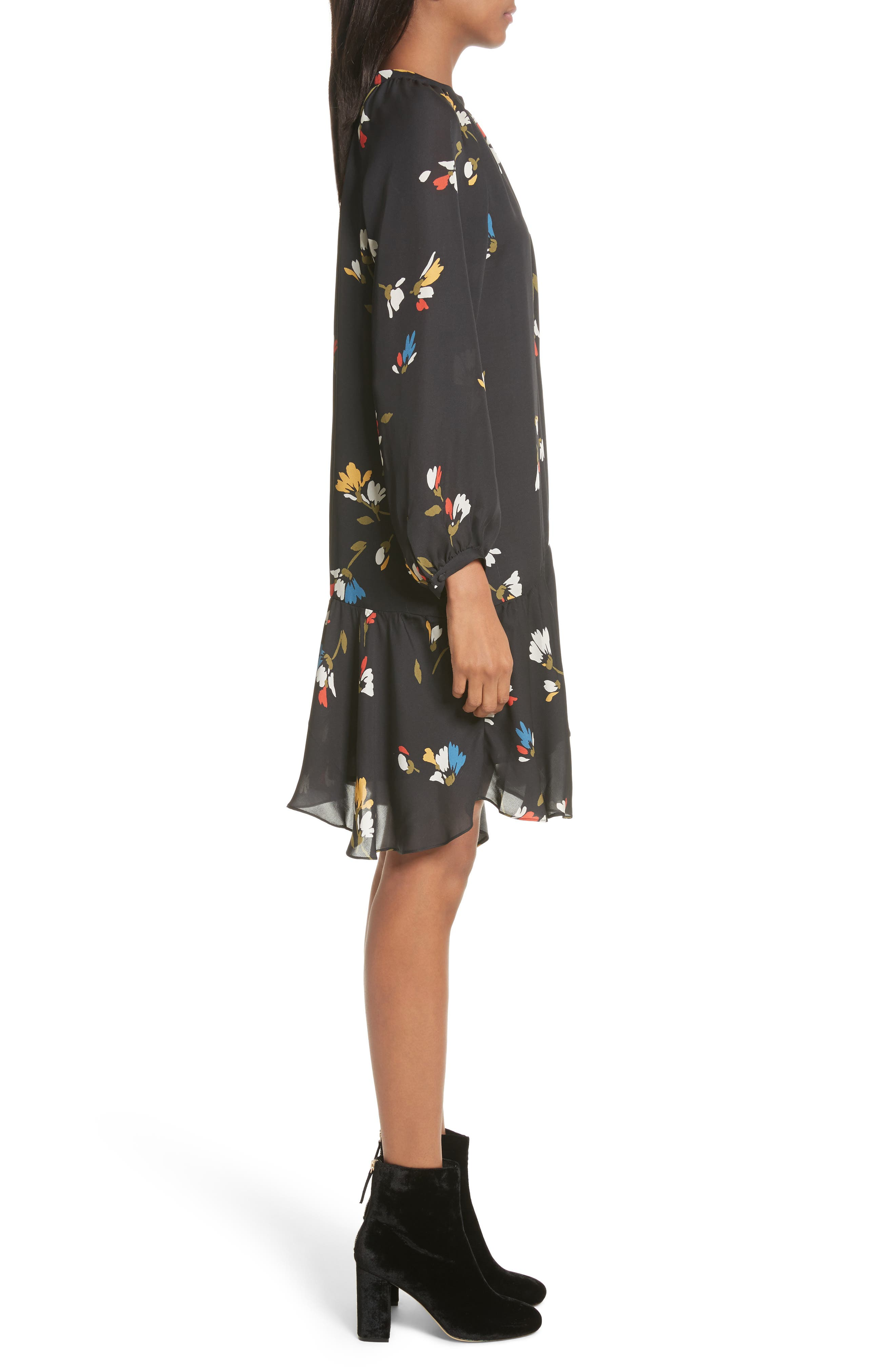 Agrafena Ruffle Hem Silk Dress,                             Alternate thumbnail 3, color,                             002