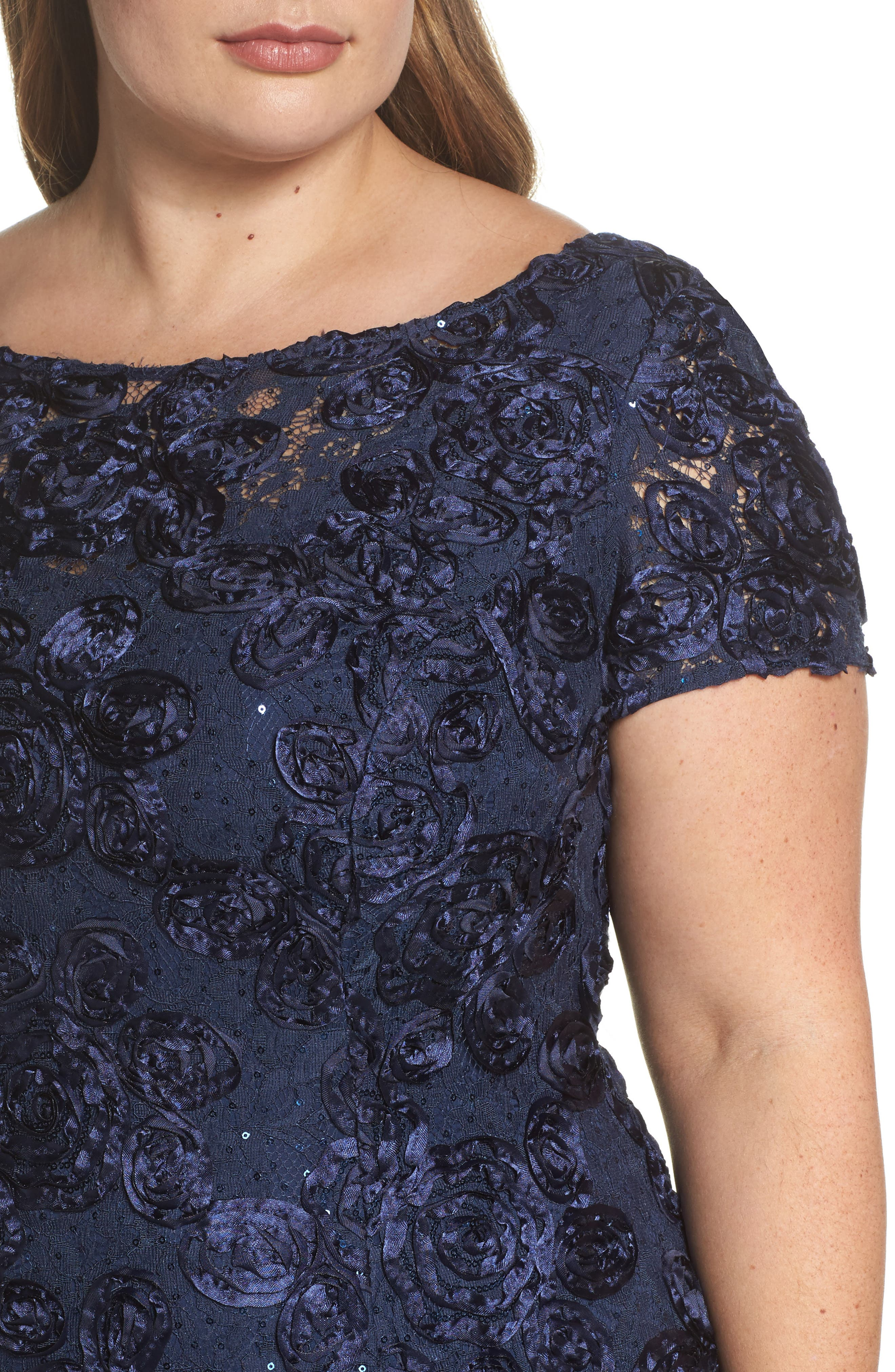 Rosette Lace Short Sleeve A-Line Gown,                             Alternate thumbnail 4, color,                             NAVY