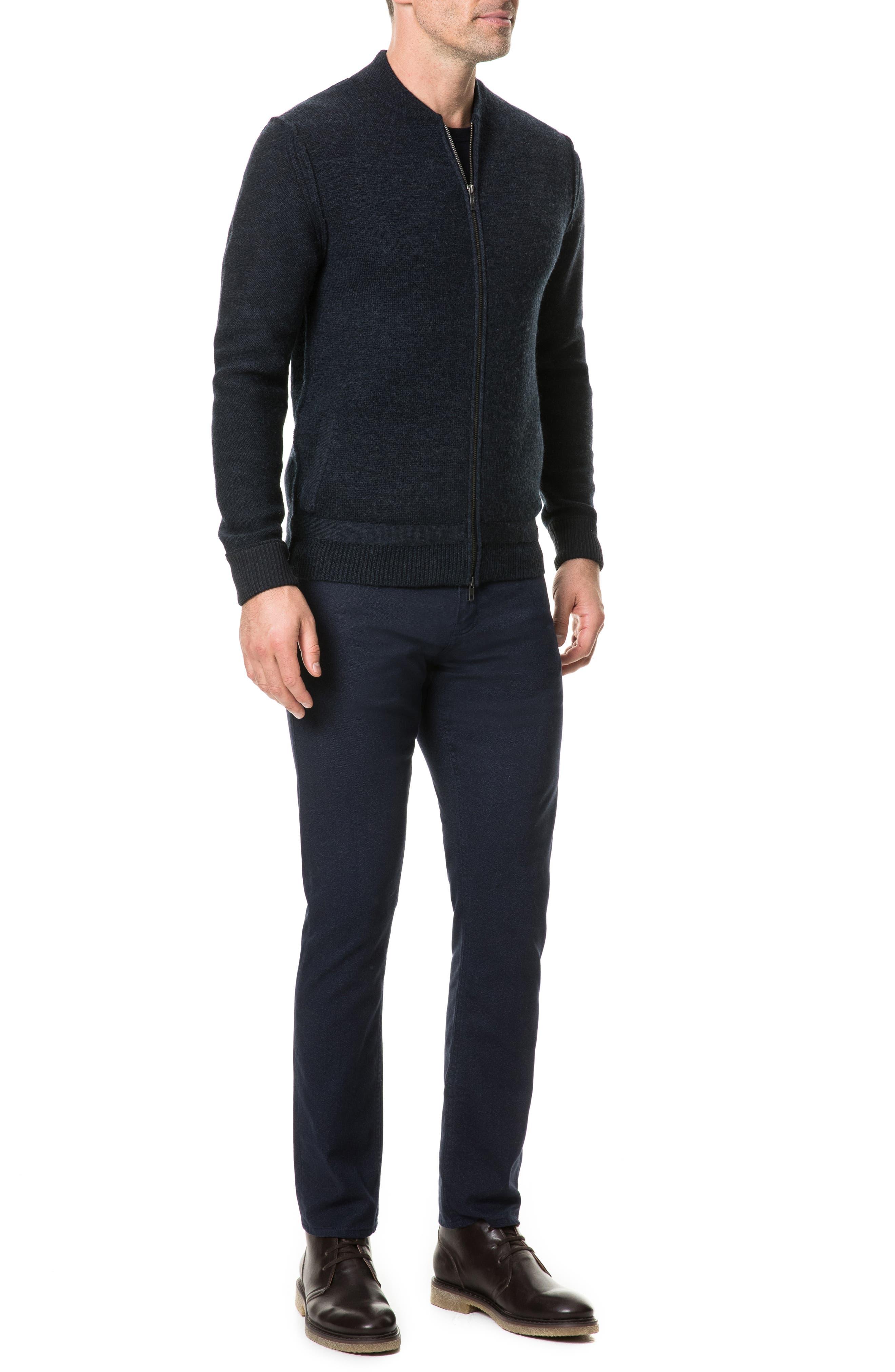 Fairton Regular Fit Wool Zip Front Sweater,                             Alternate thumbnail 5, color,                             NAVY