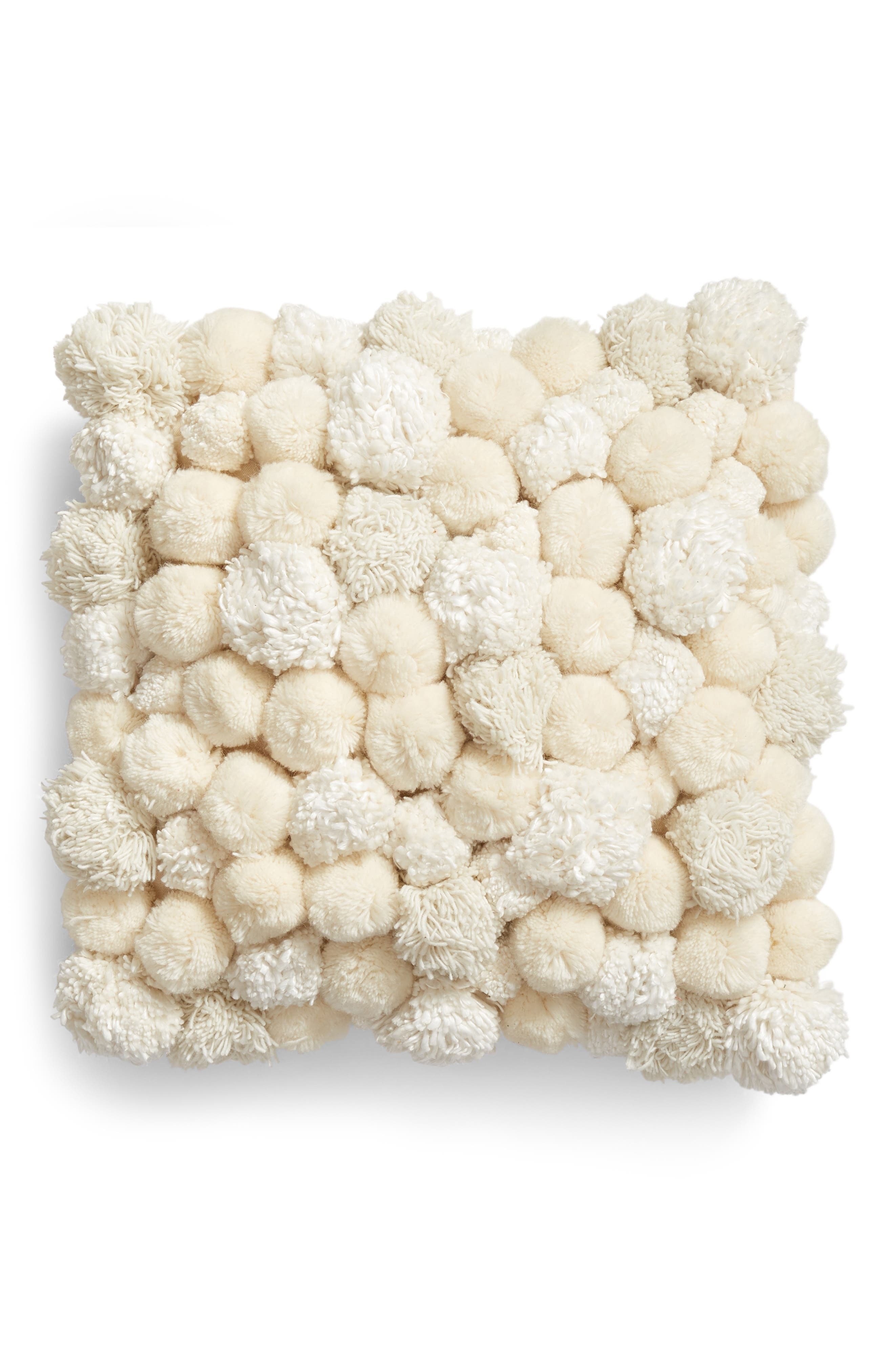 Pom Accent Pillow,                         Main,                         color, IVORY