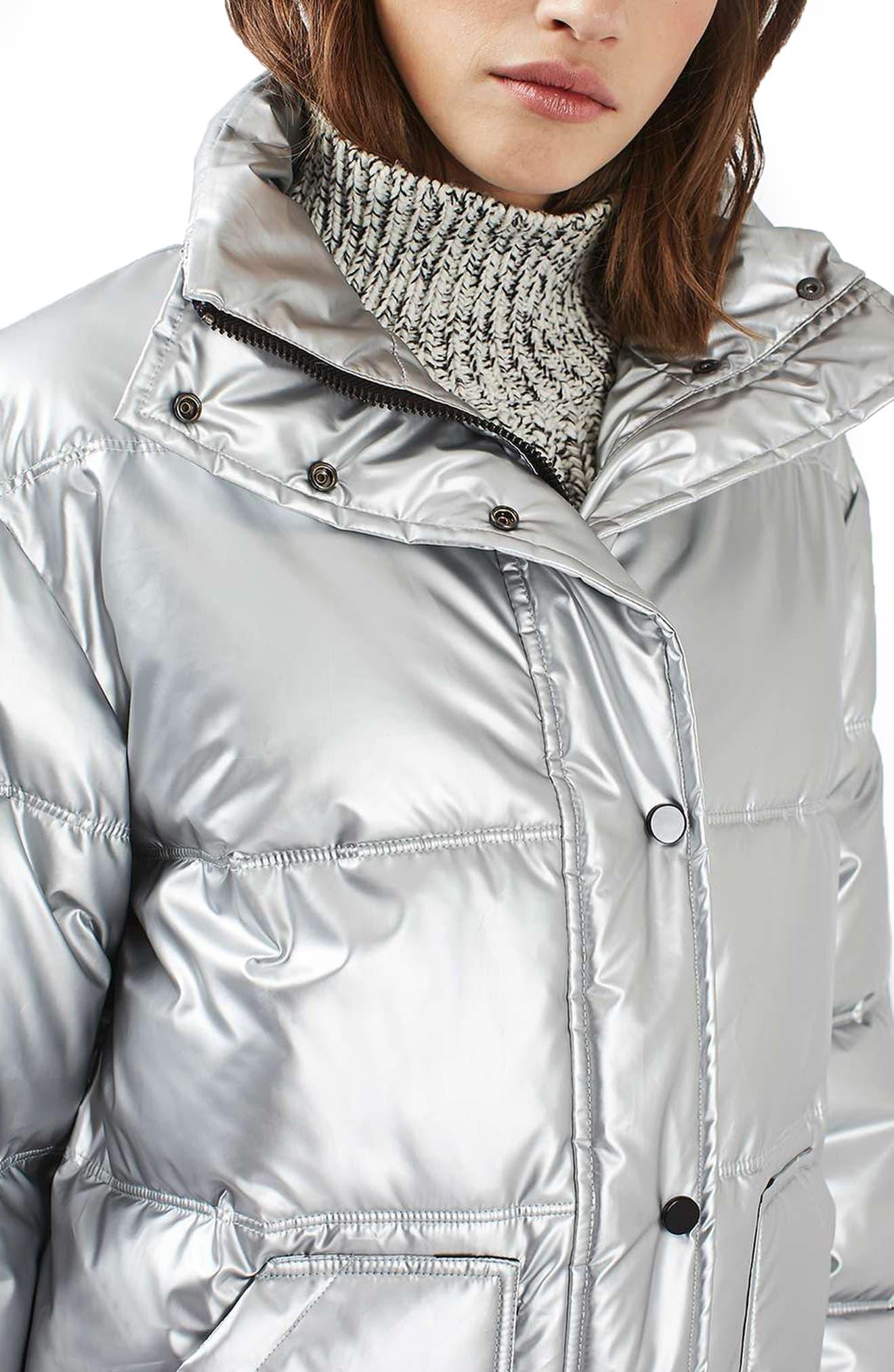 Bianca Metallic Puffer Jacket,                             Alternate thumbnail 3, color,                             040