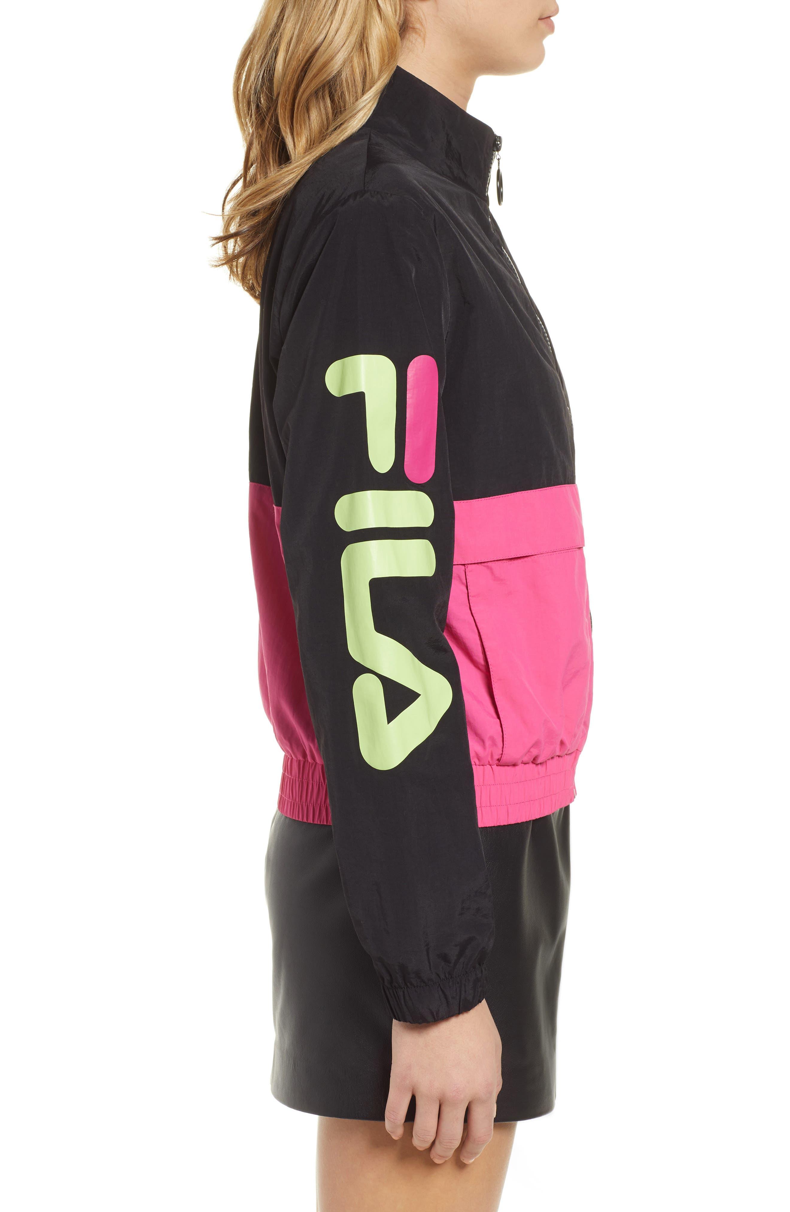 Miguela Colorblock Windbreaker Jacket,                             Alternate thumbnail 3, color,                             BLACK