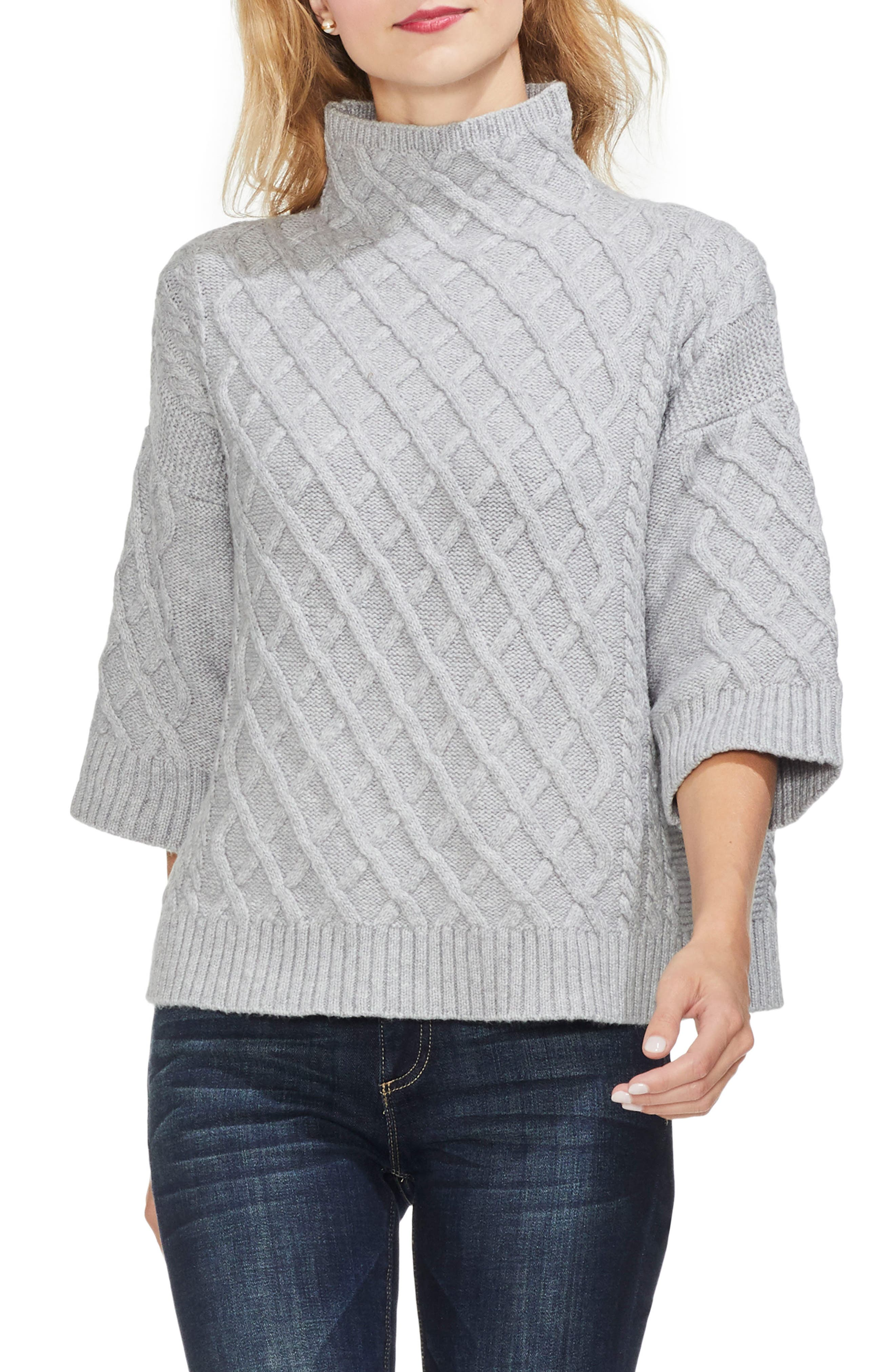 Cable Stitch Funnel Neck Sweater, Main, color, 078