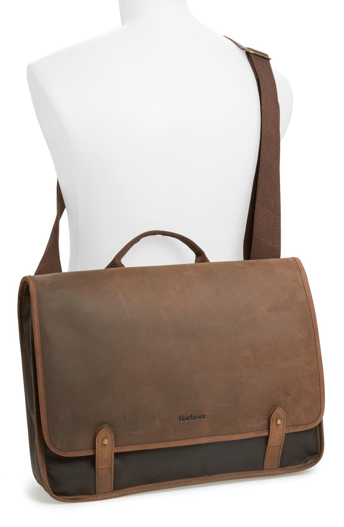 BARBOUR,                             Waxed Canvas & Leather Messenger Bag,                             Alternate thumbnail 2, color,                             340