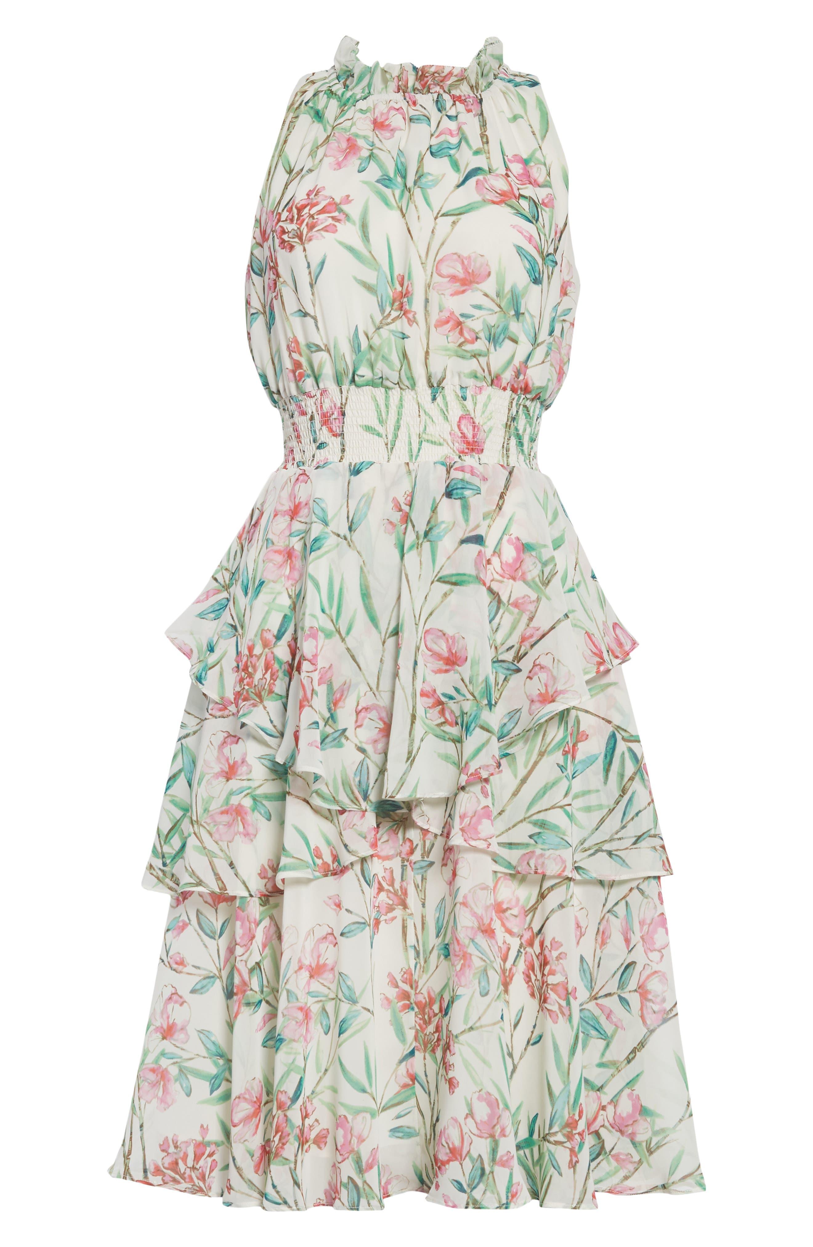 Chiffon Fit & Flare Dress,                             Alternate thumbnail 7, color,