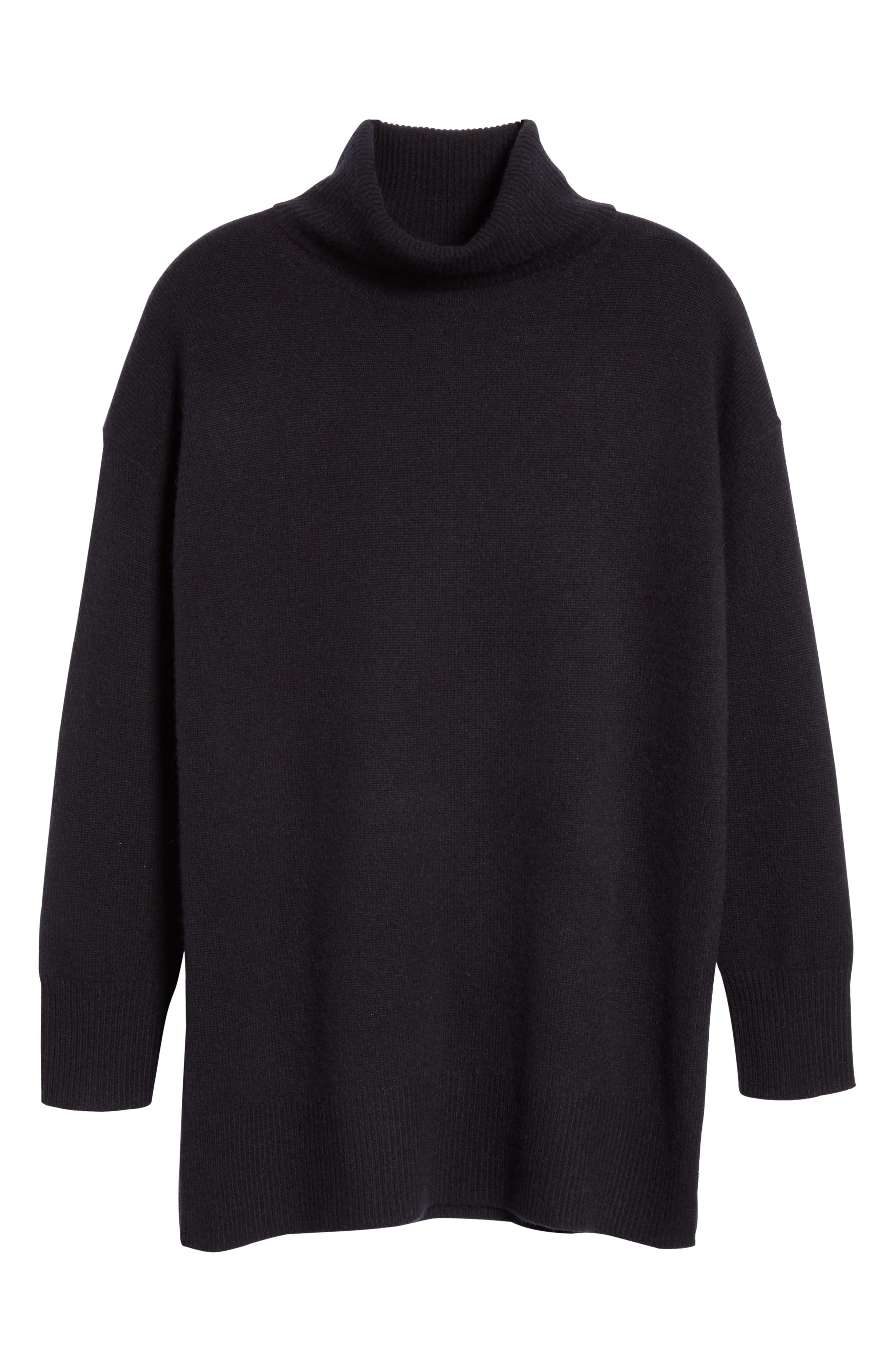 NORDSTROM SIGNATURE,                             Cashmere Turtleneck Pullover,                             Alternate thumbnail 6, color,                             001