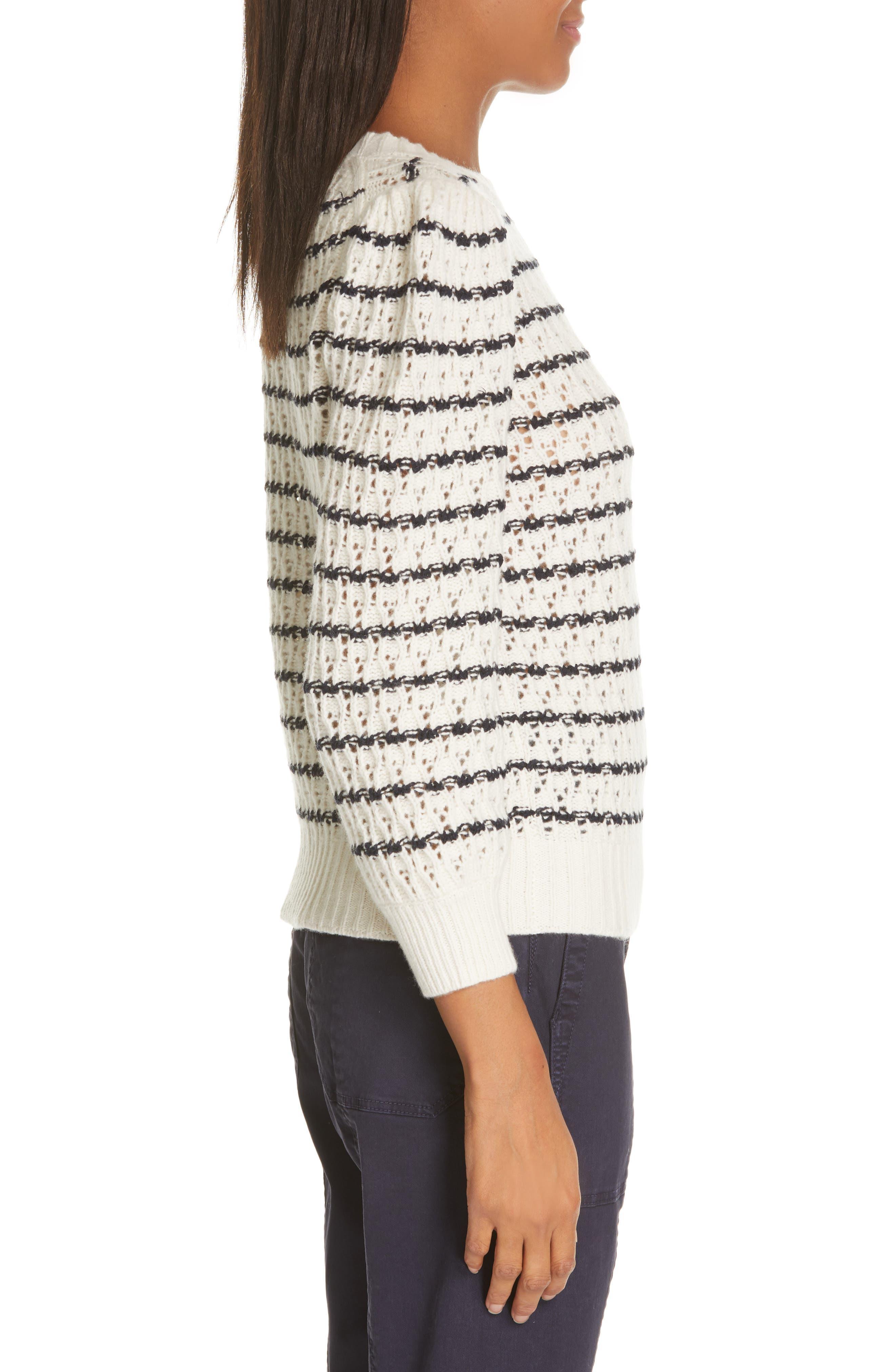 LA VIE REBECCA TAYLOR,                             Stripe Pointelle Sweater,                             Alternate thumbnail 3, color,                             ECRU/ MIDNIGHT NAVY