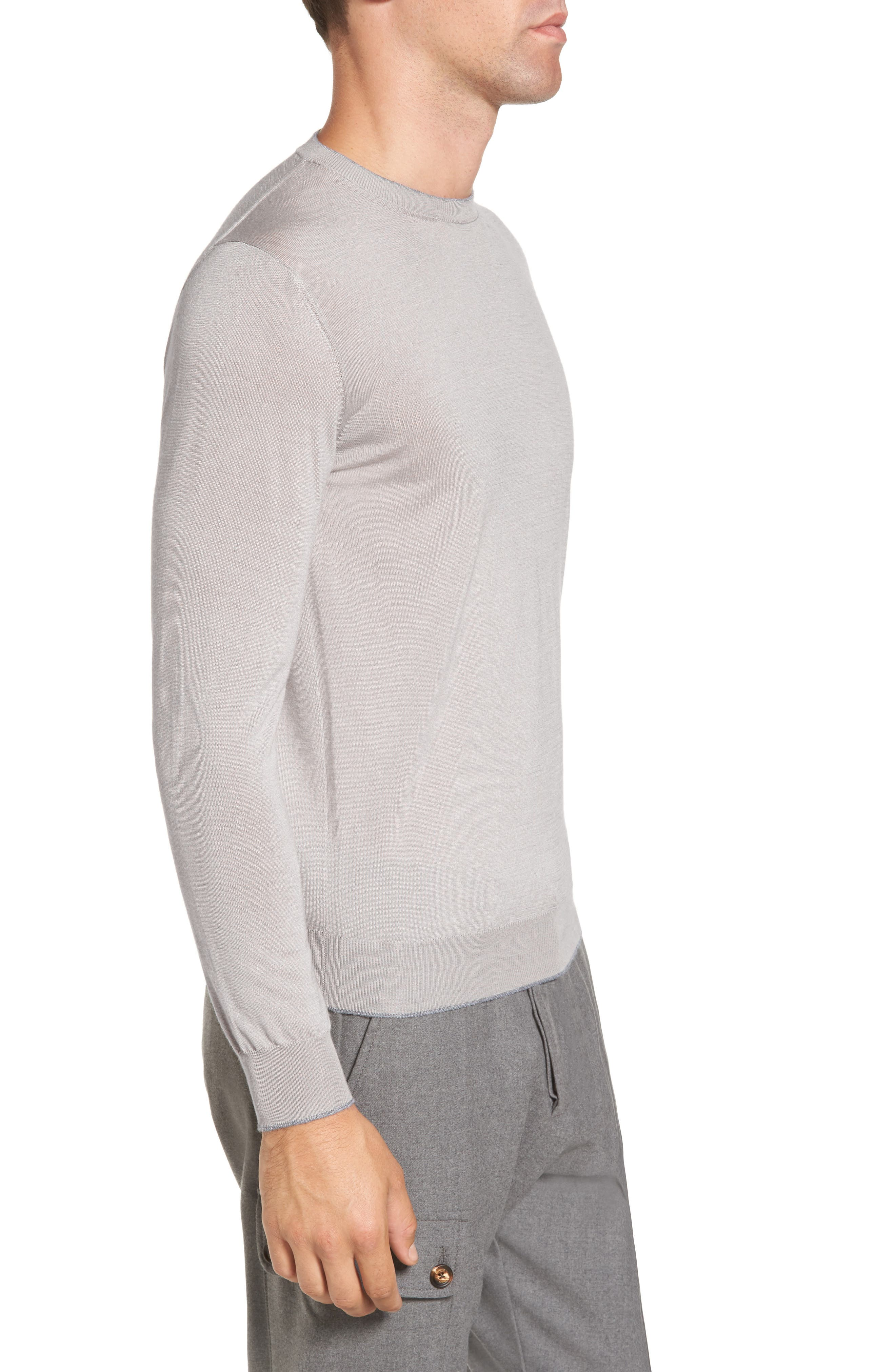 ELEVENTY,                             Merino Wool & Silk Tipped Sweater,                             Alternate thumbnail 3, color,                             SAND