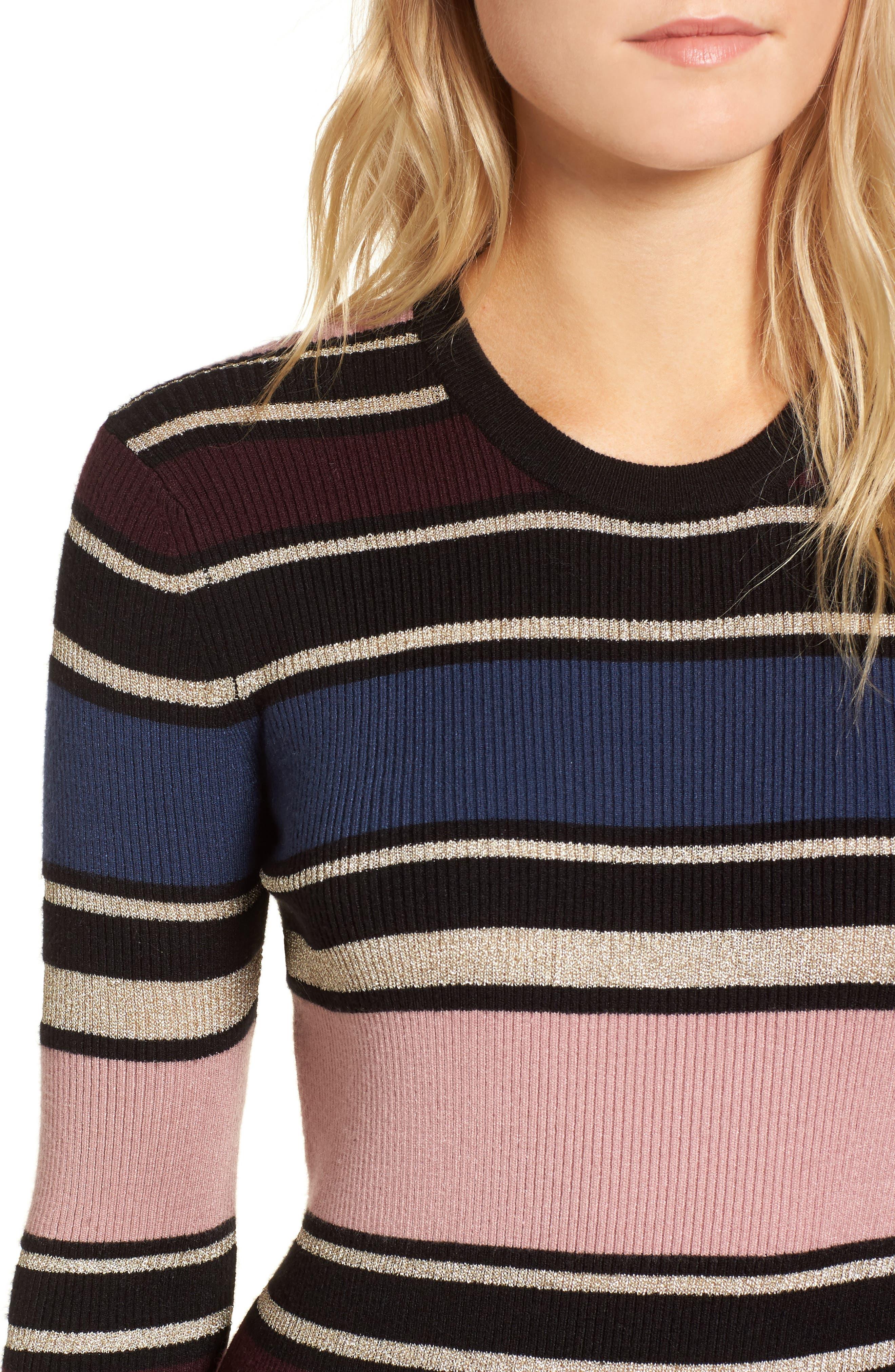 Barrow Stripe Midi Dress,                             Alternate thumbnail 4, color,                             960