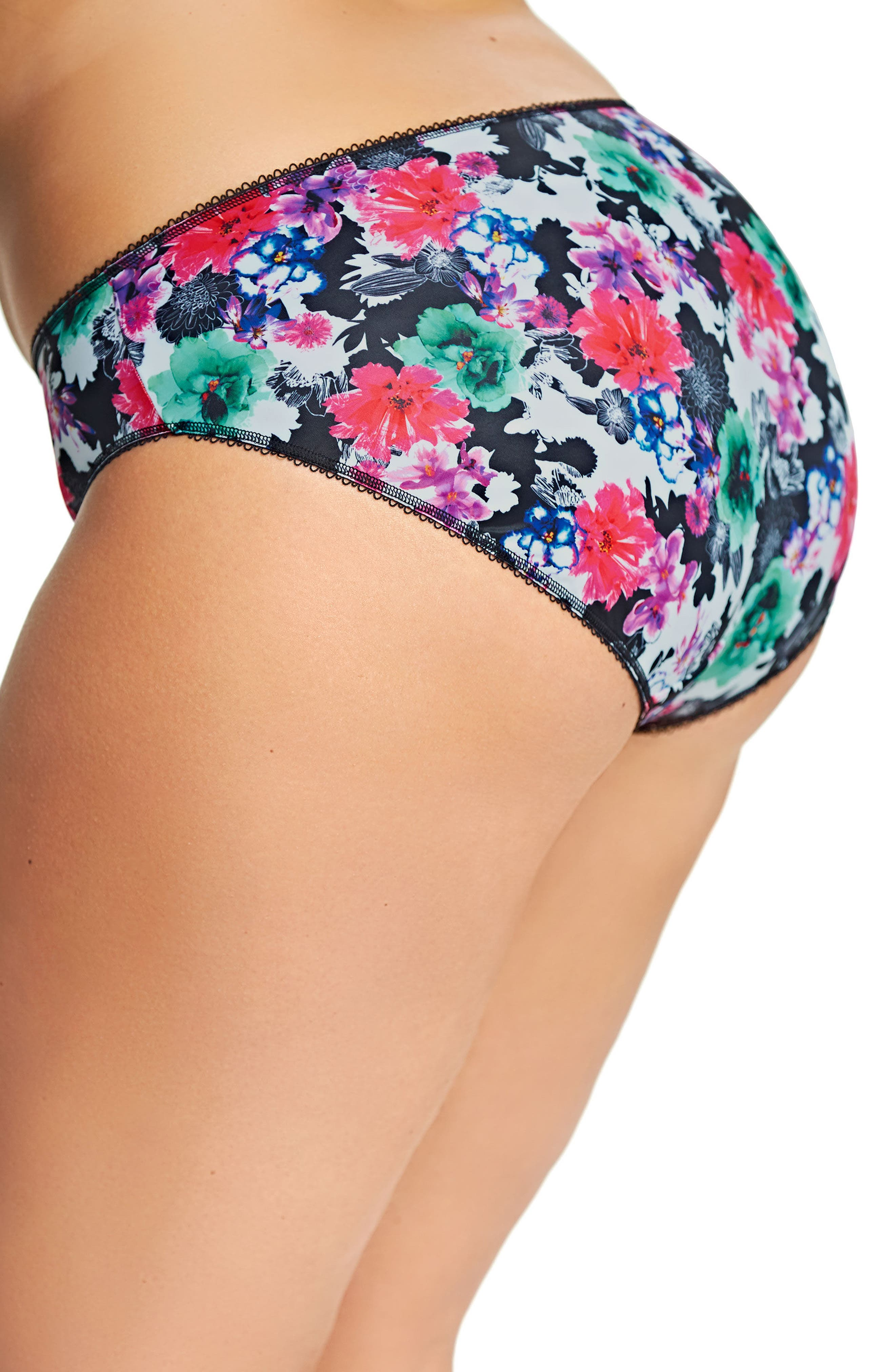 Jenna Floral Print Briefs,                             Alternate thumbnail 3, color,