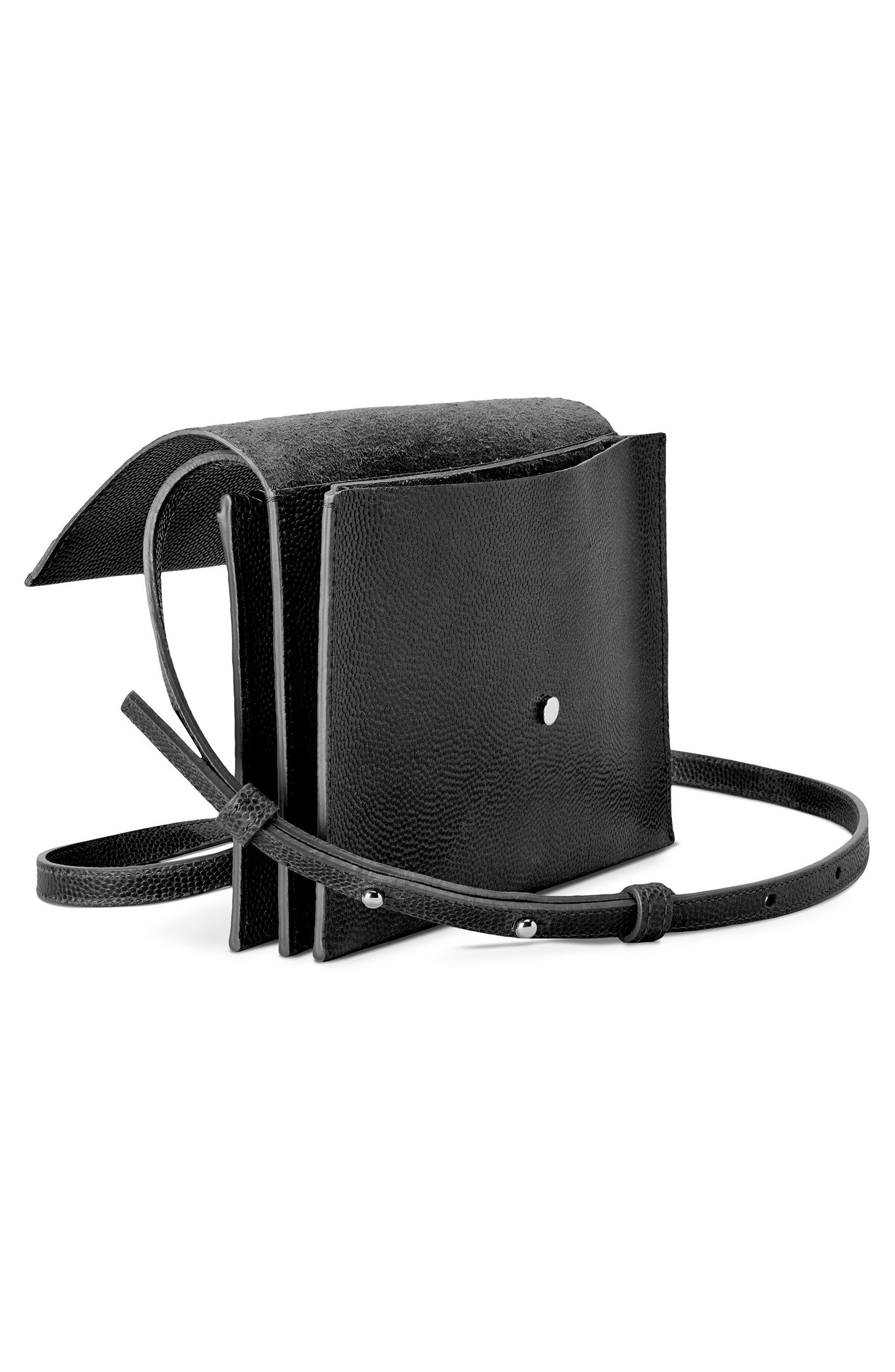 Leather Crossbody Bag,                             Alternate thumbnail 4, color,                             001