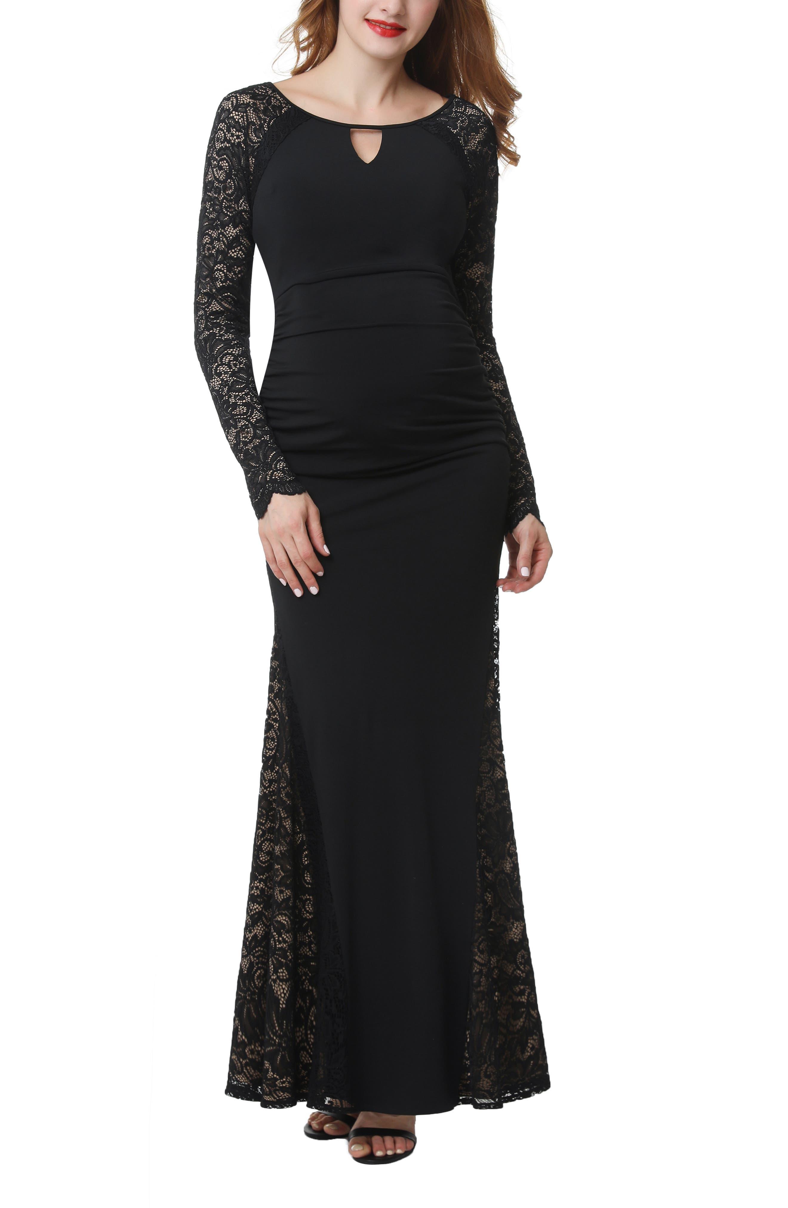Bella Maternity Maxi Dress, Main, color, BLACK