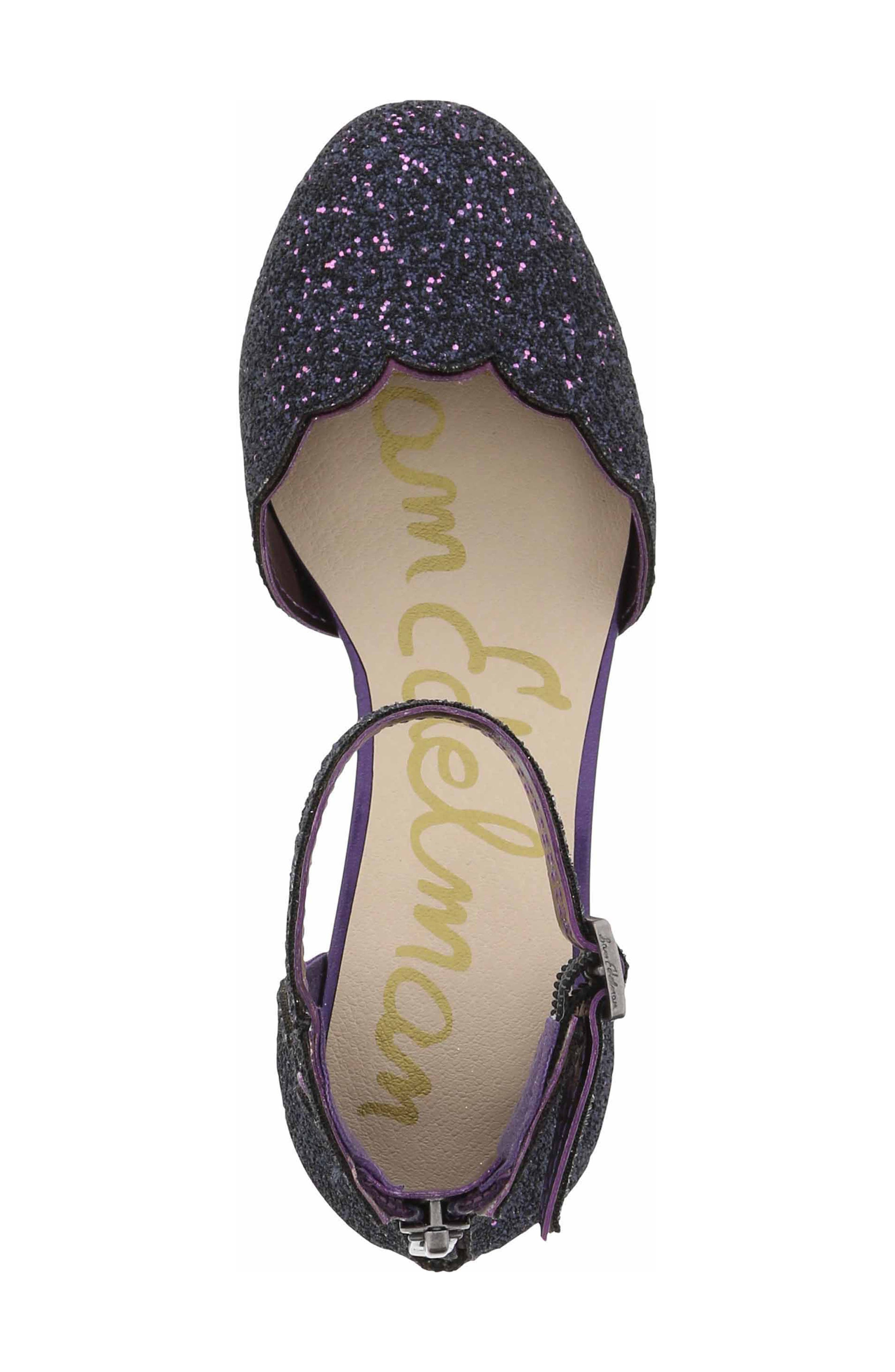 Evelyn Inara Glitter Ankle Strap Pump,                             Alternate thumbnail 4, color,                             PURPLE MULTI