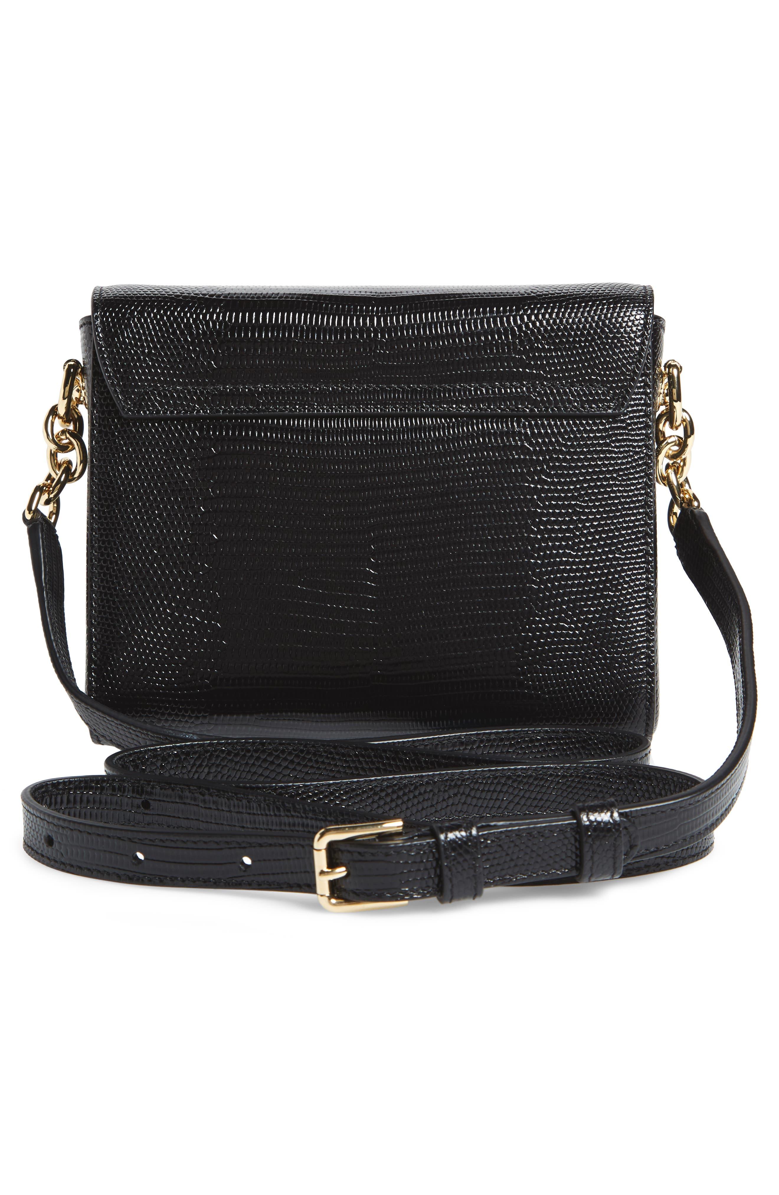 Millennial Reptile Embossed Leather Crossbody Bag,                             Alternate thumbnail 3, color,                             NERO