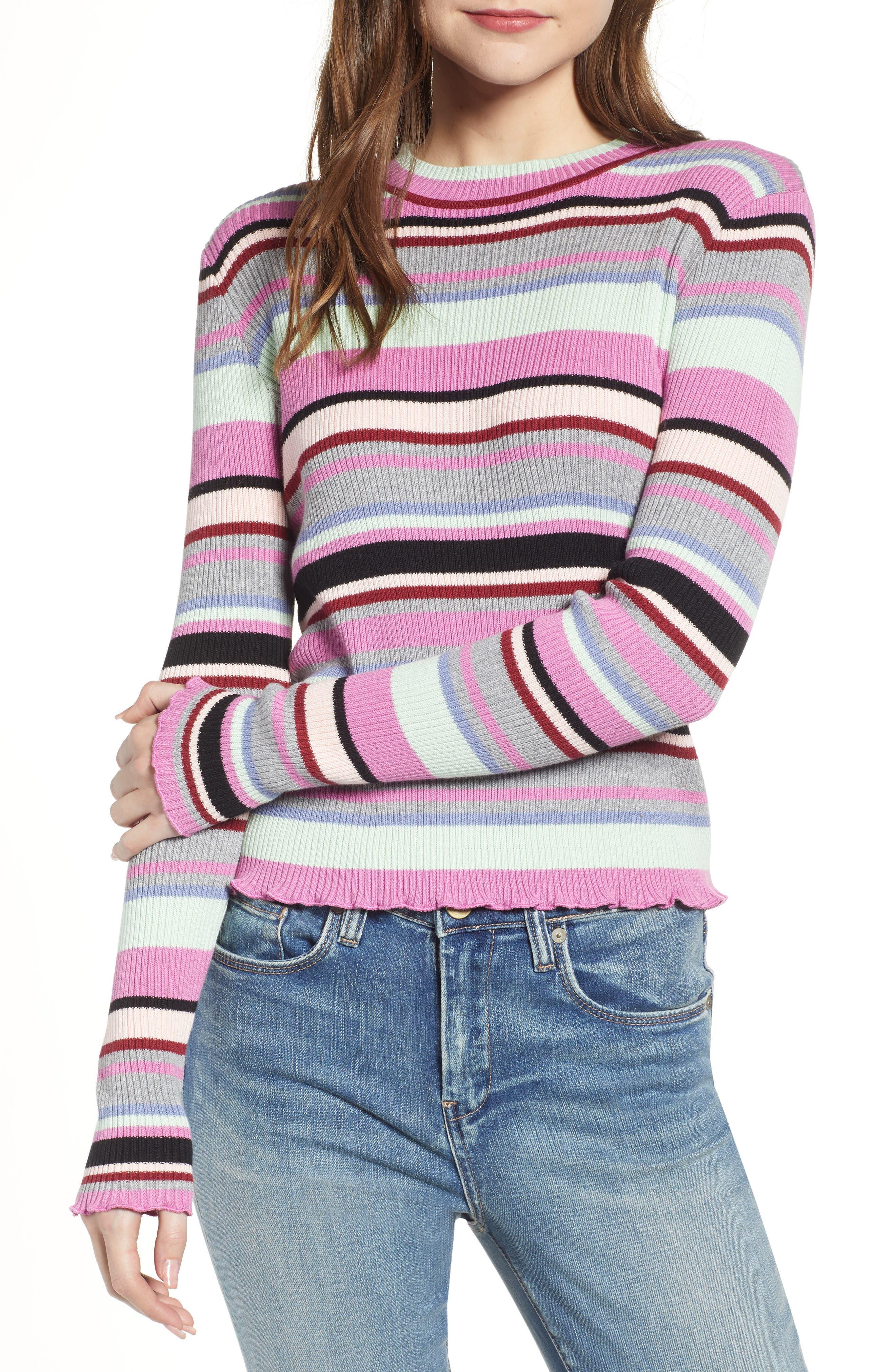 Ribbed Lettuce Edge Stripe Sweater,                             Main thumbnail 1, color,                             PURPLE TAFFY KARA MULTI STRIPE