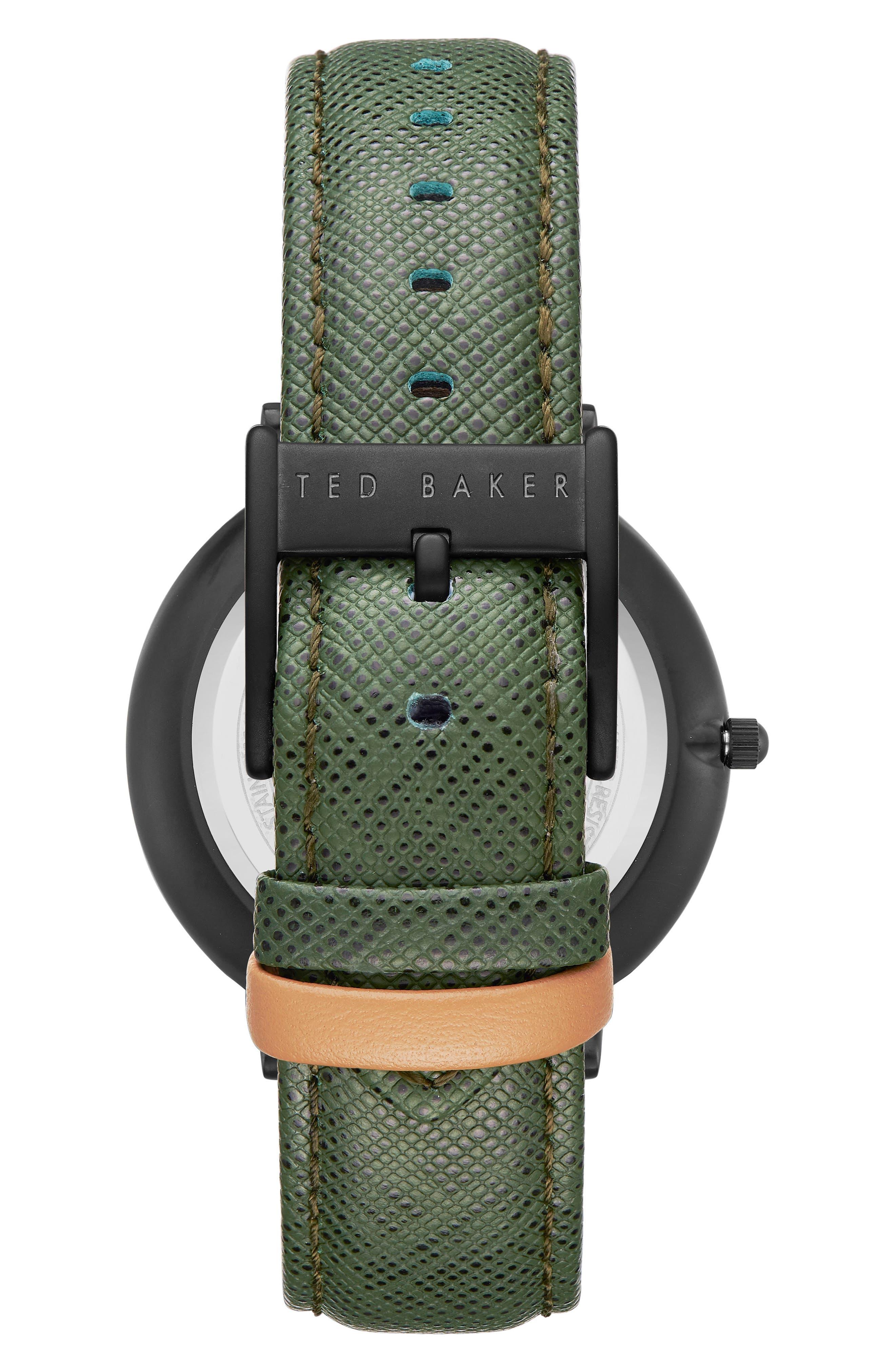 Brad Multifunction Leather Strap Watch, 42mm,                             Alternate thumbnail 2, color,                             BLACK/ DARK GREEN