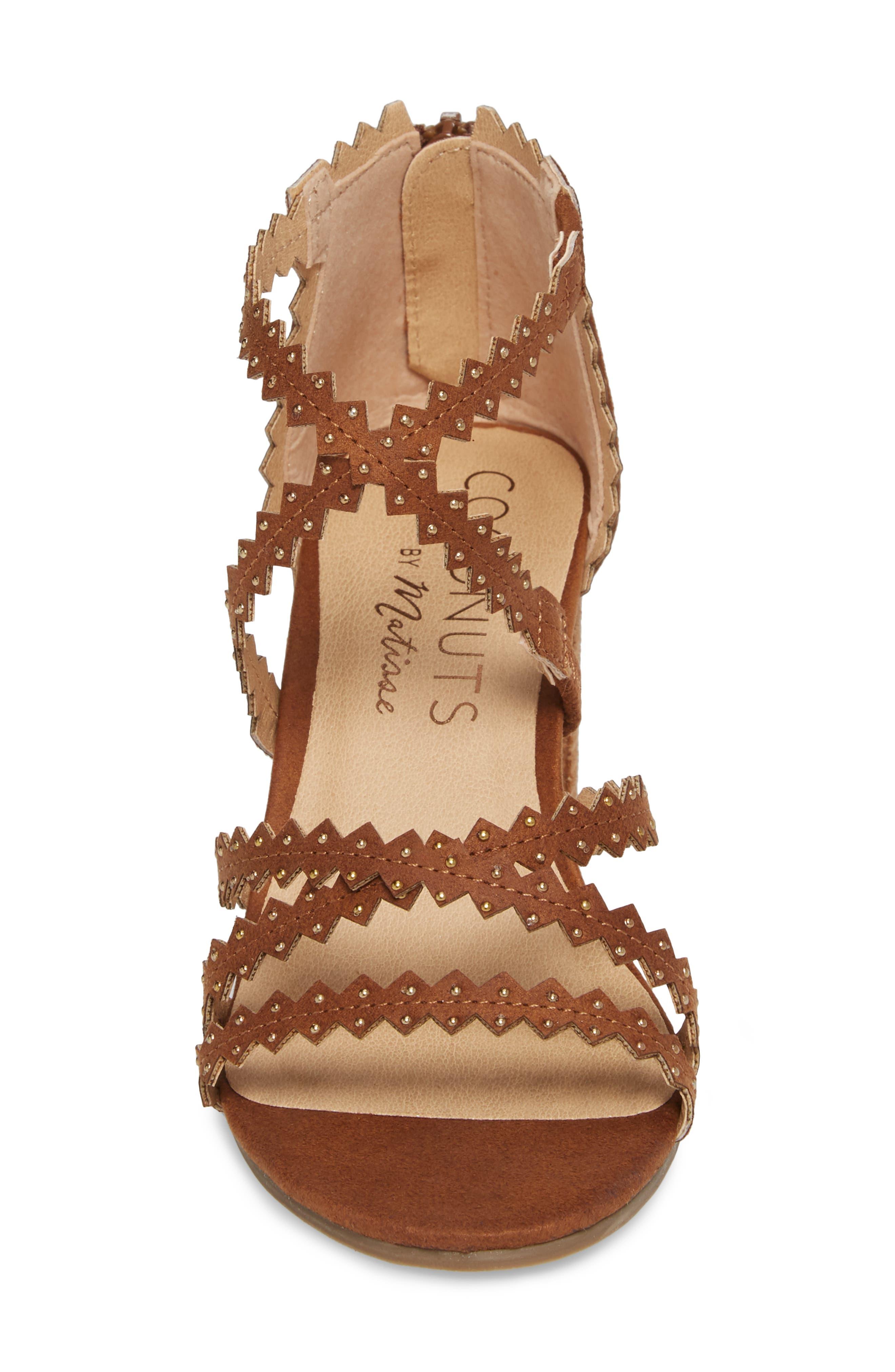 Aiden Block Heel Sandal,                             Alternate thumbnail 4, color,                             SADDLE SUEDE