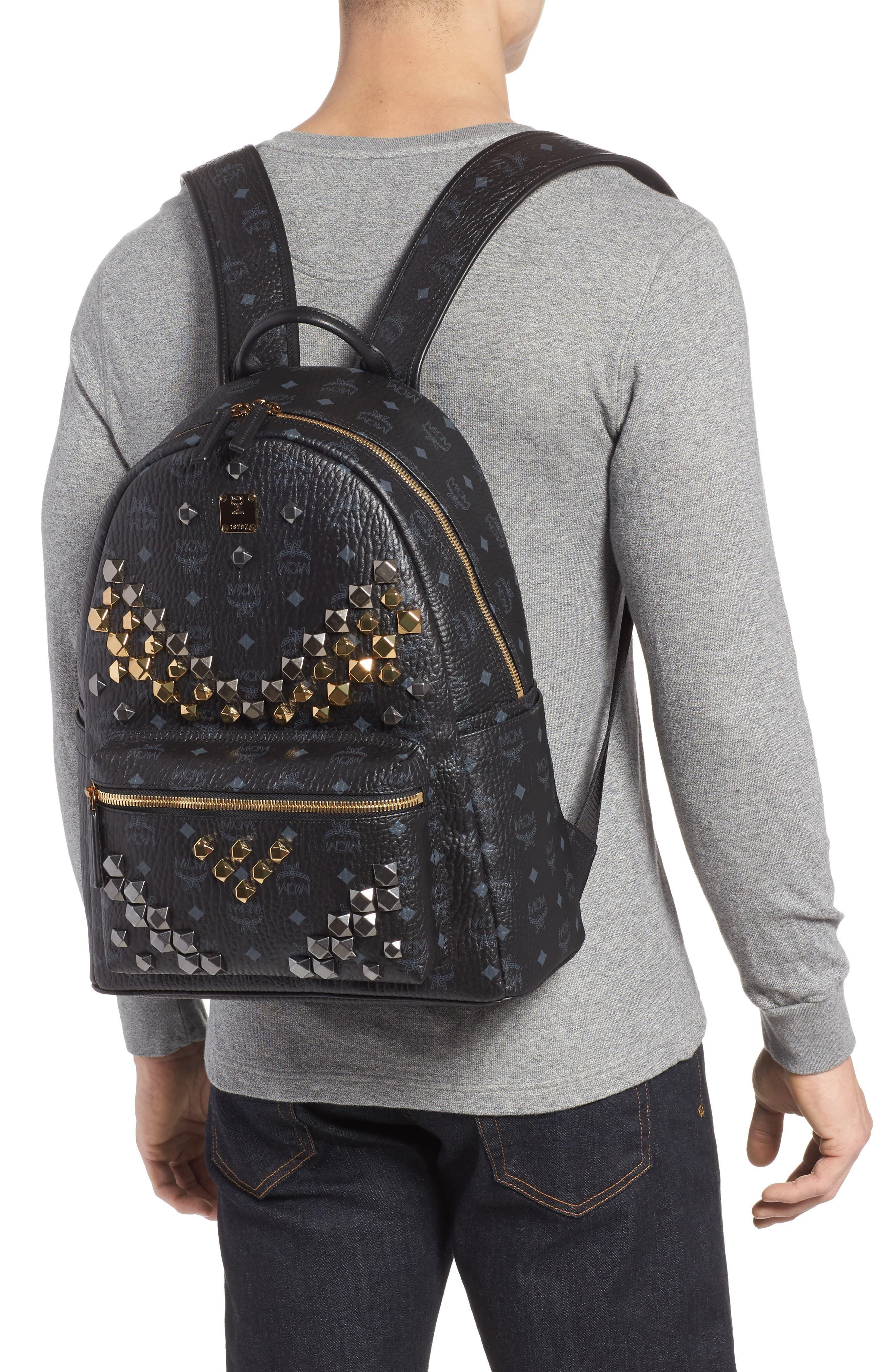 MCM,                             Medium Stark - Visetos Studded Logo Backpack,                             Alternate thumbnail 2, color,                             BLACK