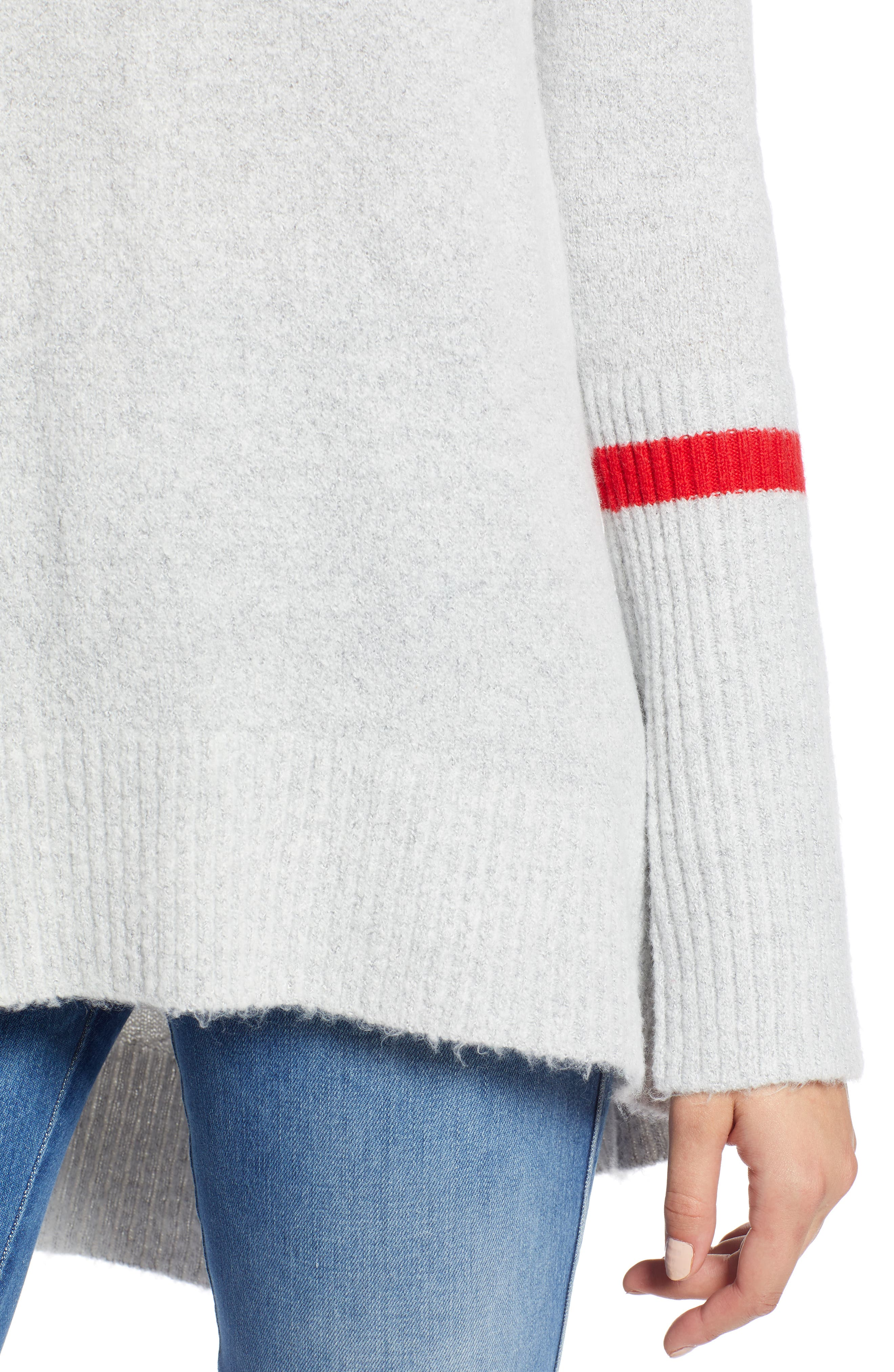 High Low Oversize Wool Blend Sweater,                             Alternate thumbnail 4, color,                             GREY HEATHER- RED