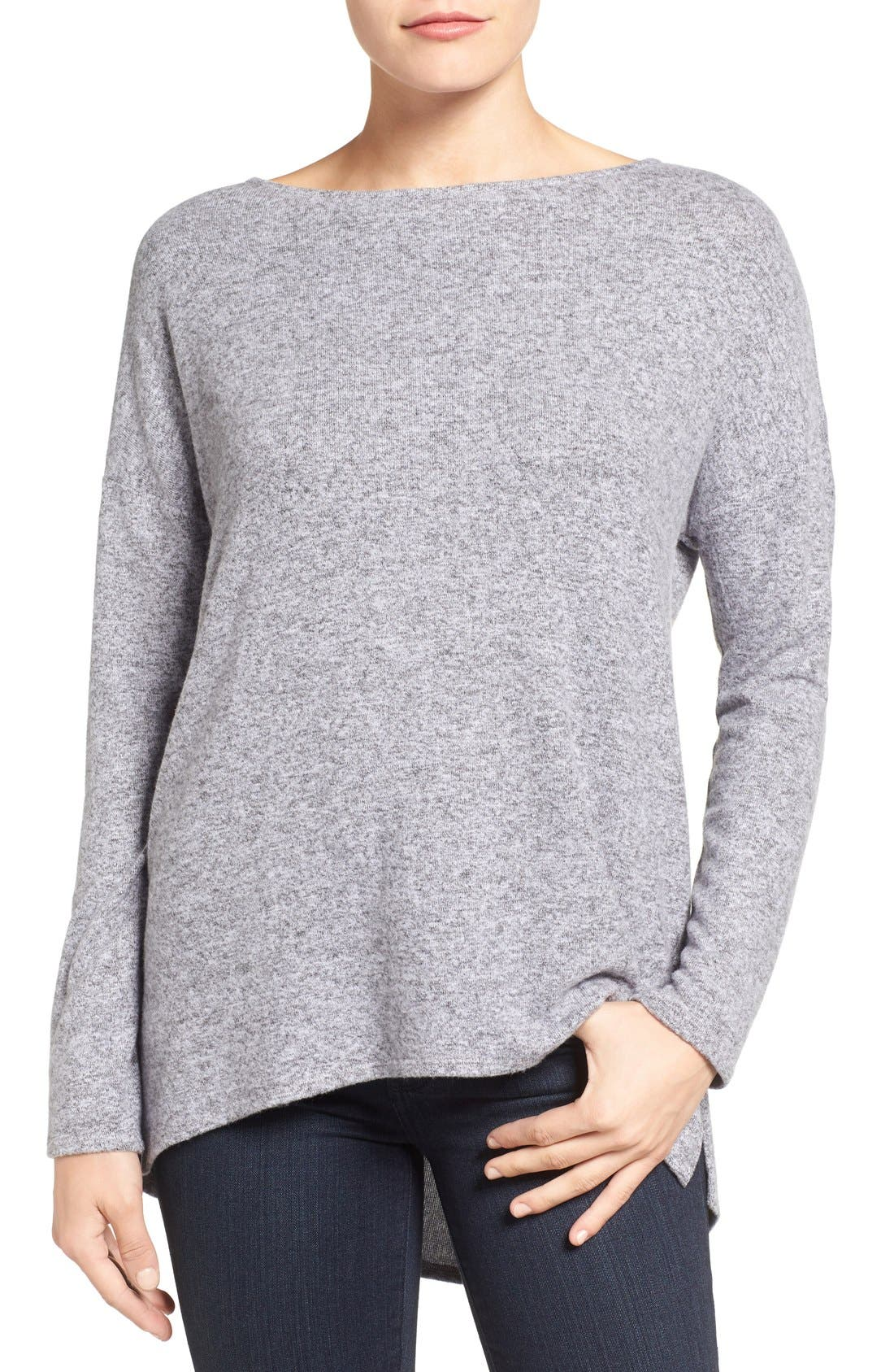 Cozy Ballet Neck High/Low Pullover,                             Main thumbnail 13, color,