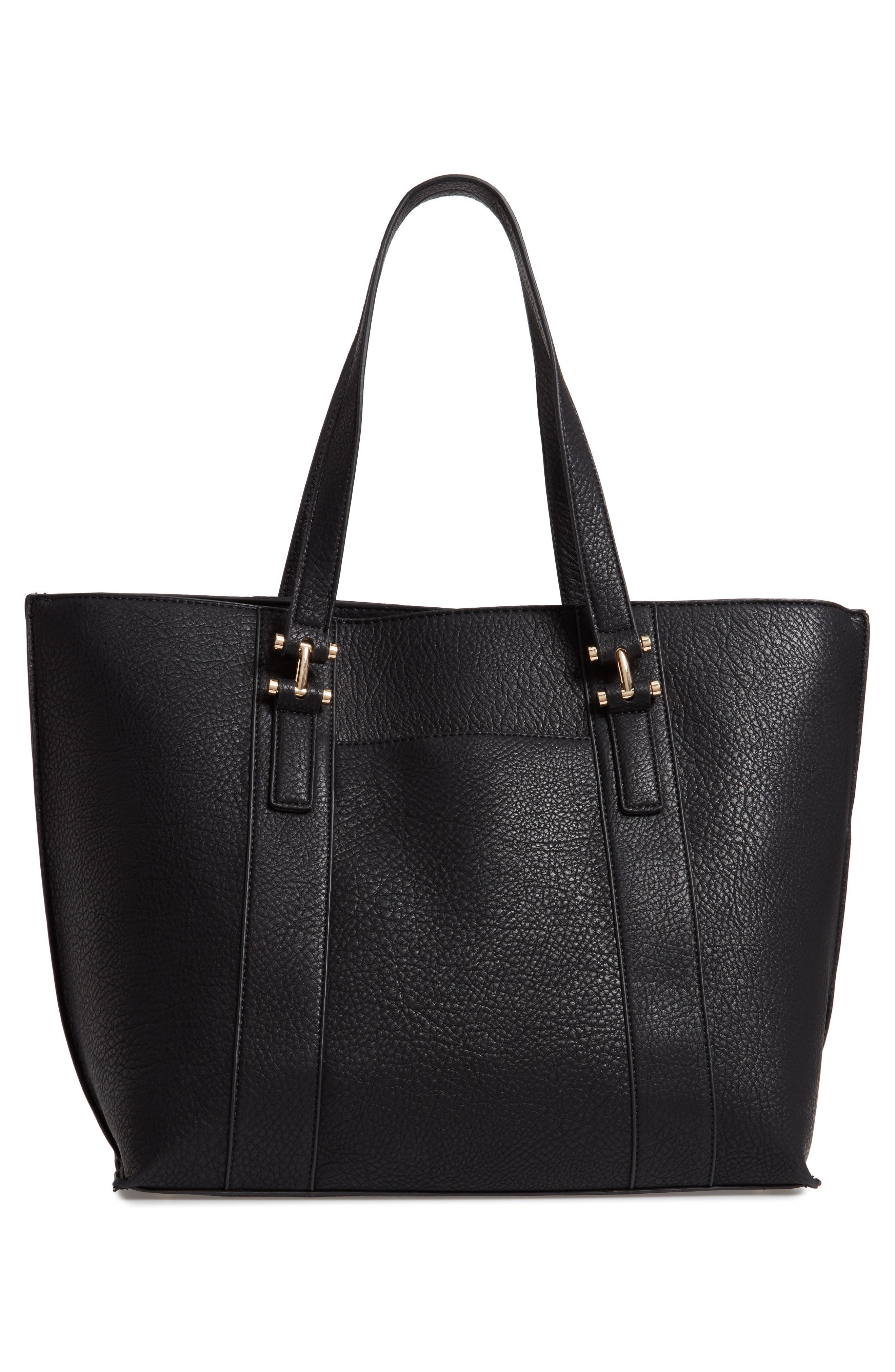 March Faux Leather Tote,                             Alternate thumbnail 3, color,                             BLACK