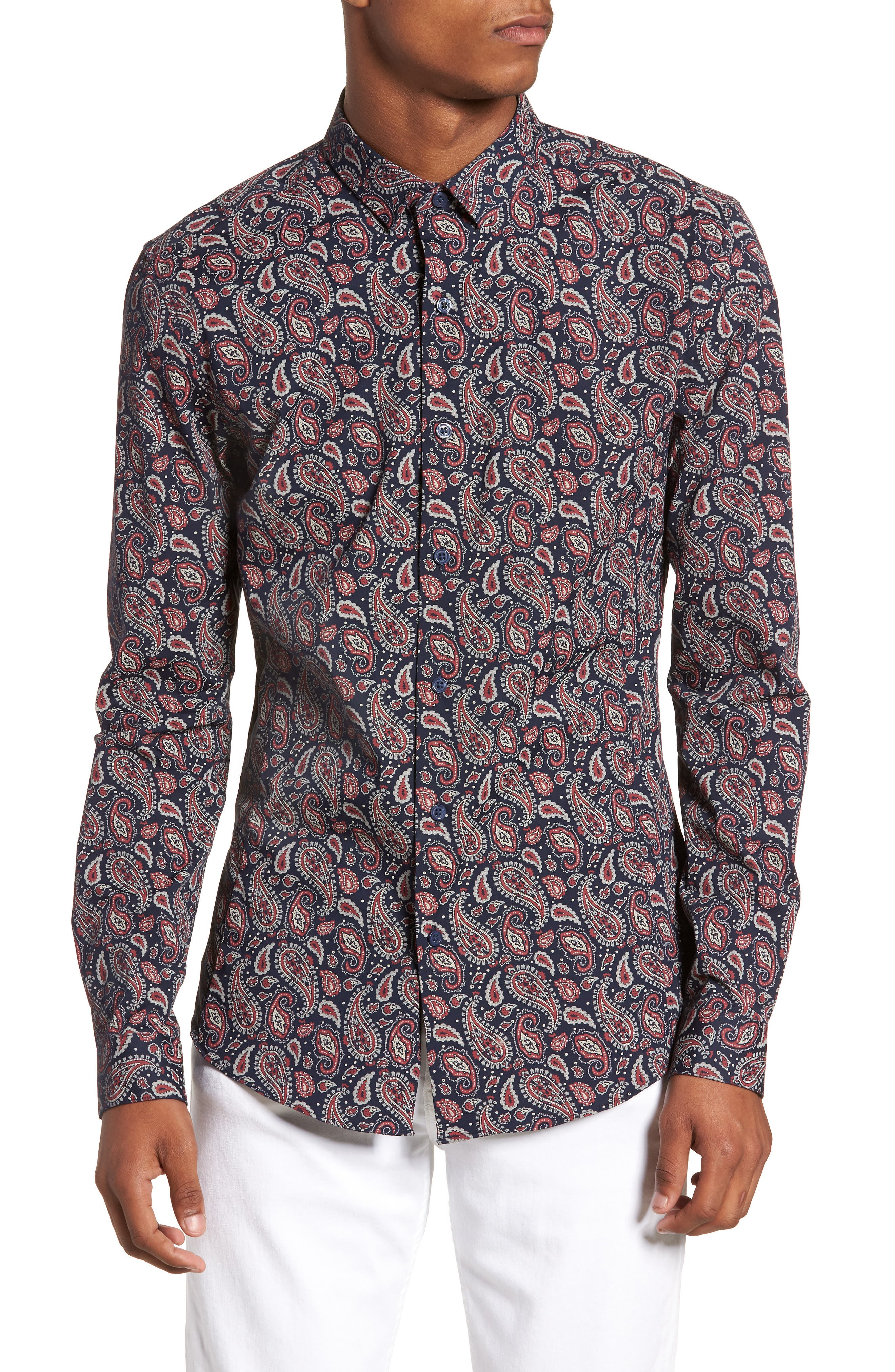 Paisley Print Shirt,                         Main,                         color, 410