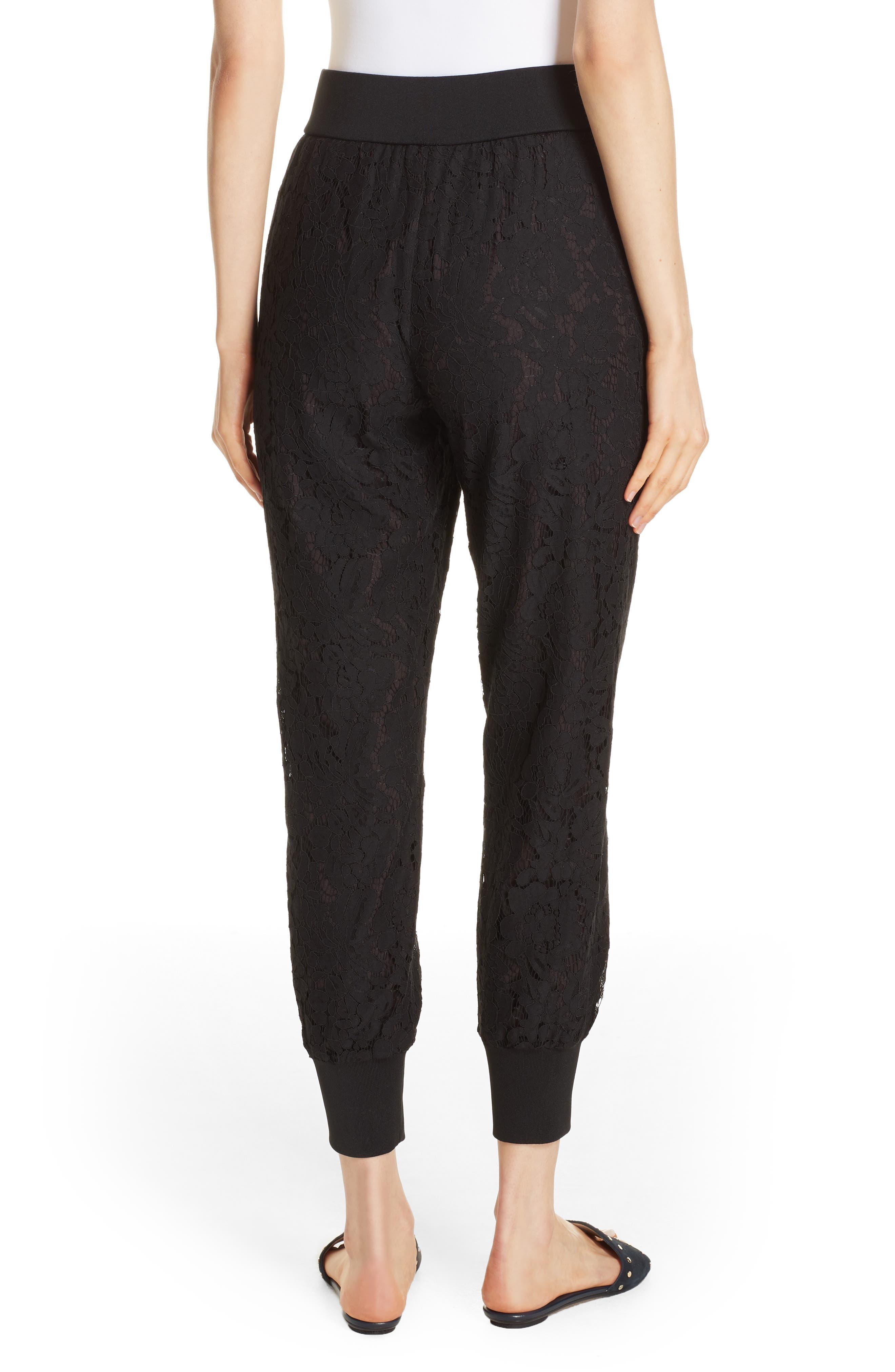Cylar Lace Detail Formal Jogger Pants,                             Alternate thumbnail 2, color,                             BLACK