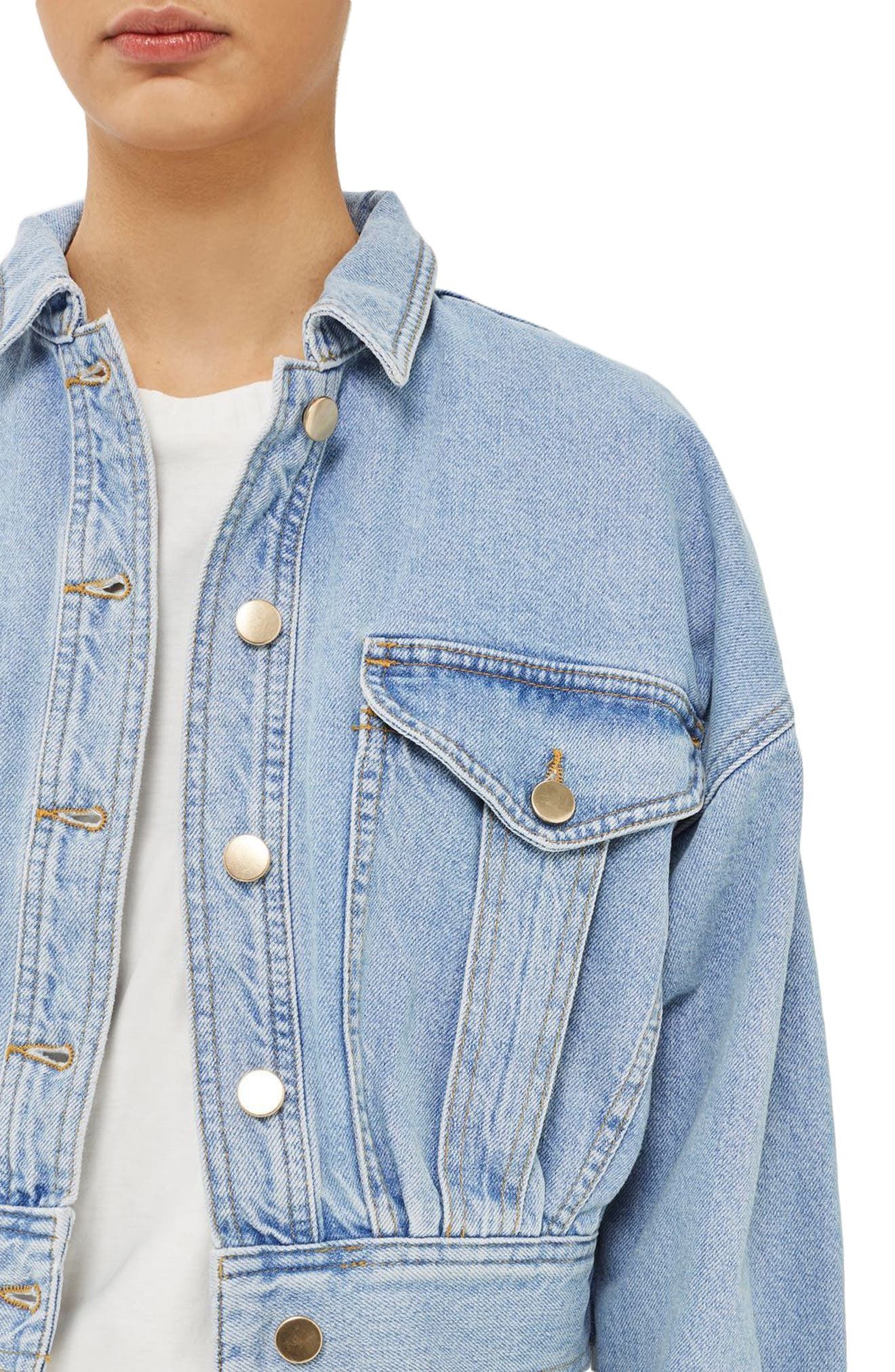 Crop Denim Jacket,                             Alternate thumbnail 4, color,                             400
