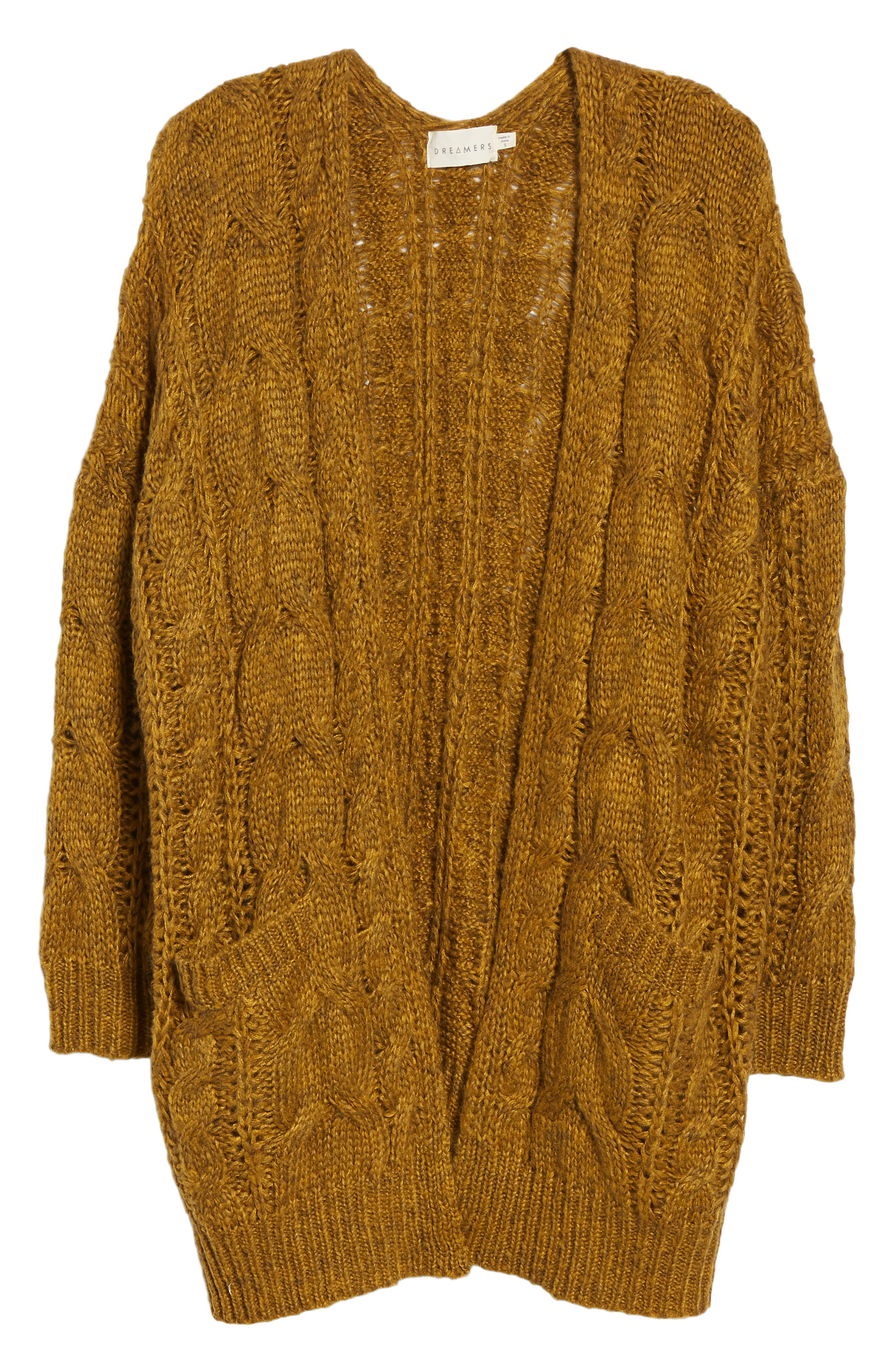 Chunky Cable Knit Cardigan,                             Alternate thumbnail 6, color,                             MUSTARD