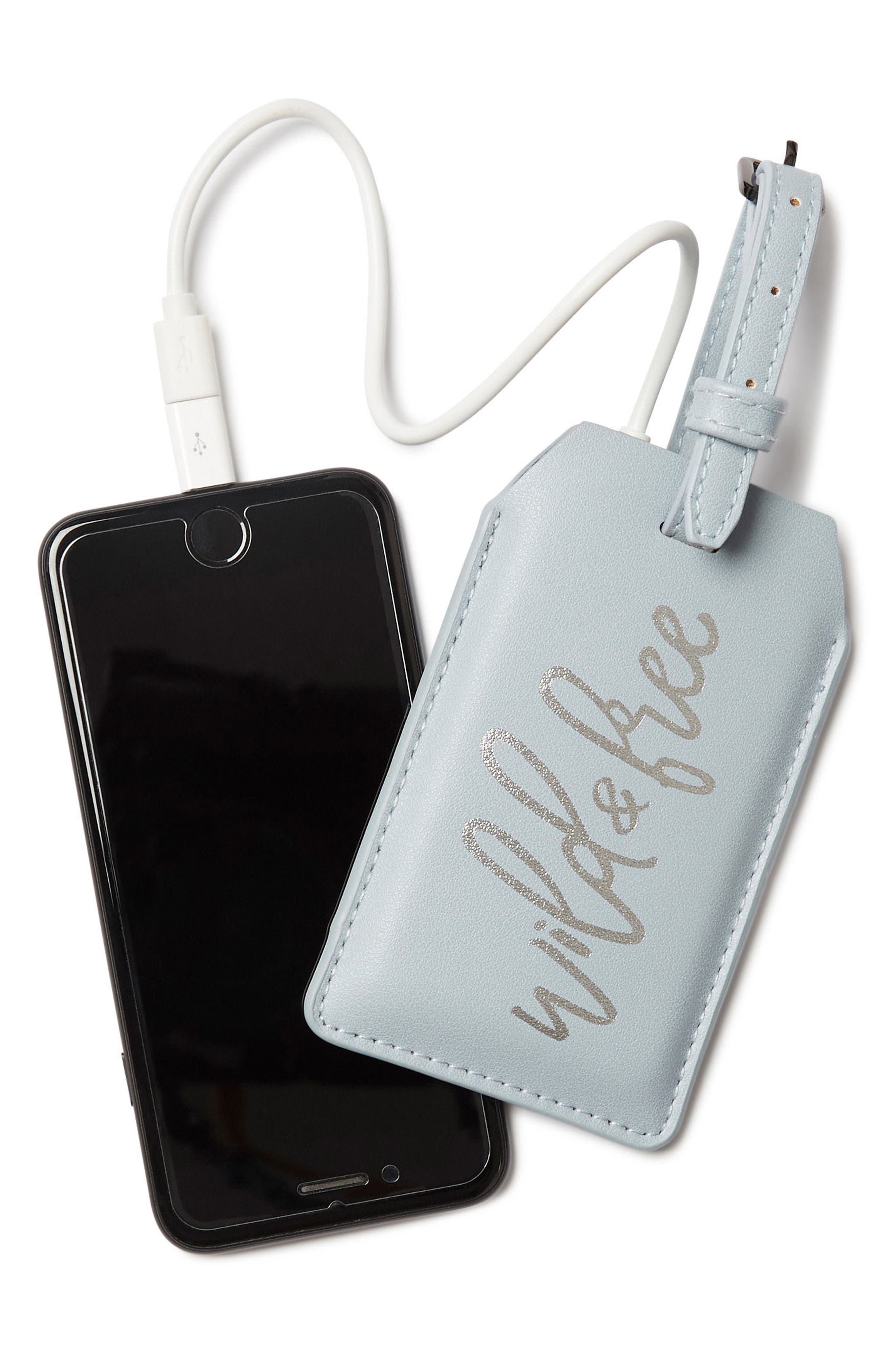 Faux Leather Power Charging Luggage Tag,                             Alternate thumbnail 3, color,                             WILD AND FREE