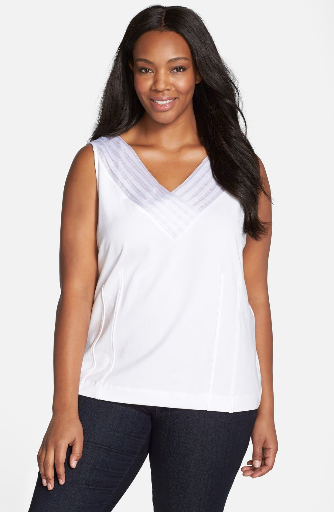 'Sweet Pleat' Sleeveless Top,                             Main thumbnail 1, color,                             PAPER WHITE