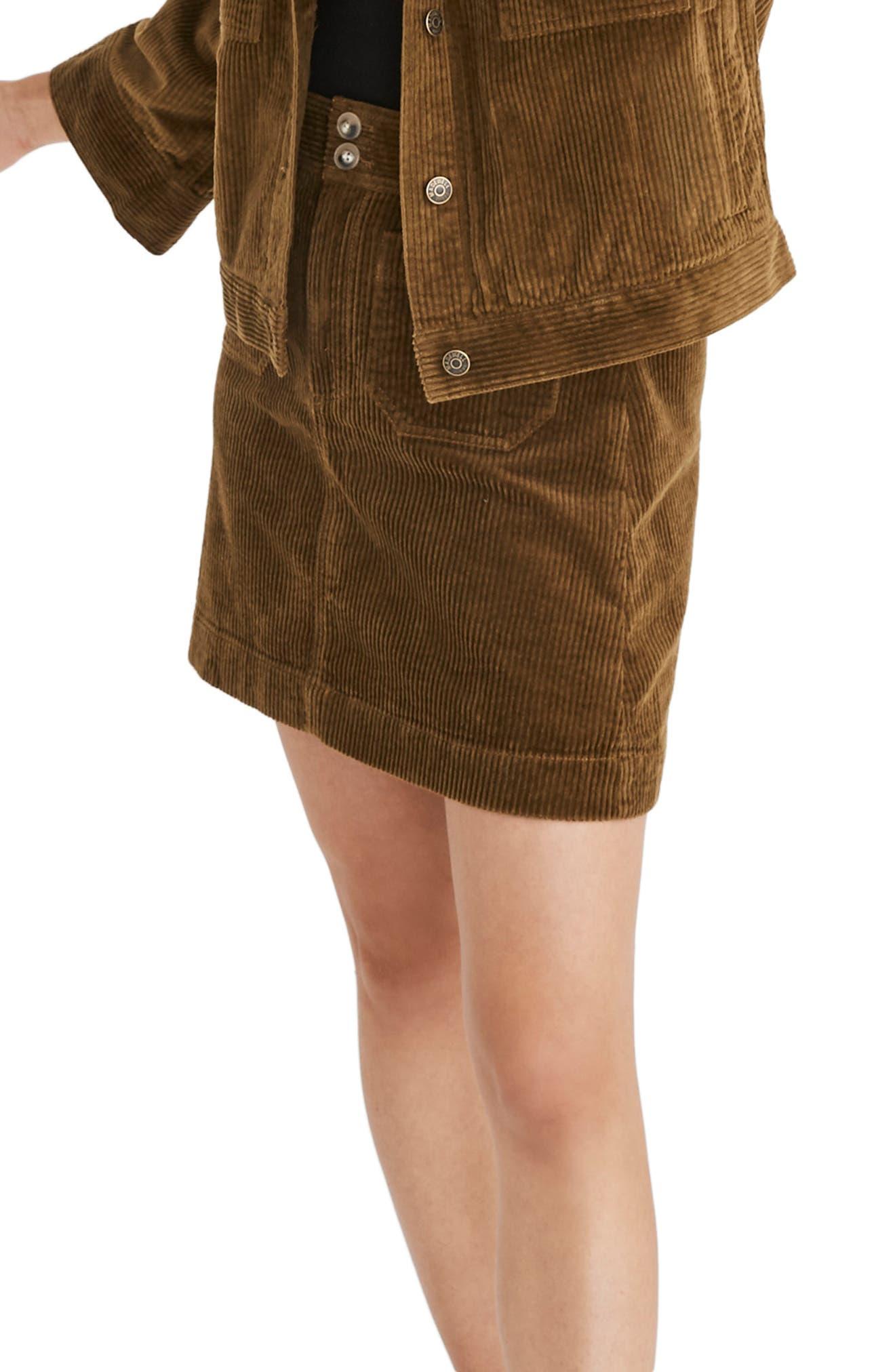 Corduroy A-Line Miniskirt,                             Alternate thumbnail 3, color,                             ASPARAGUS