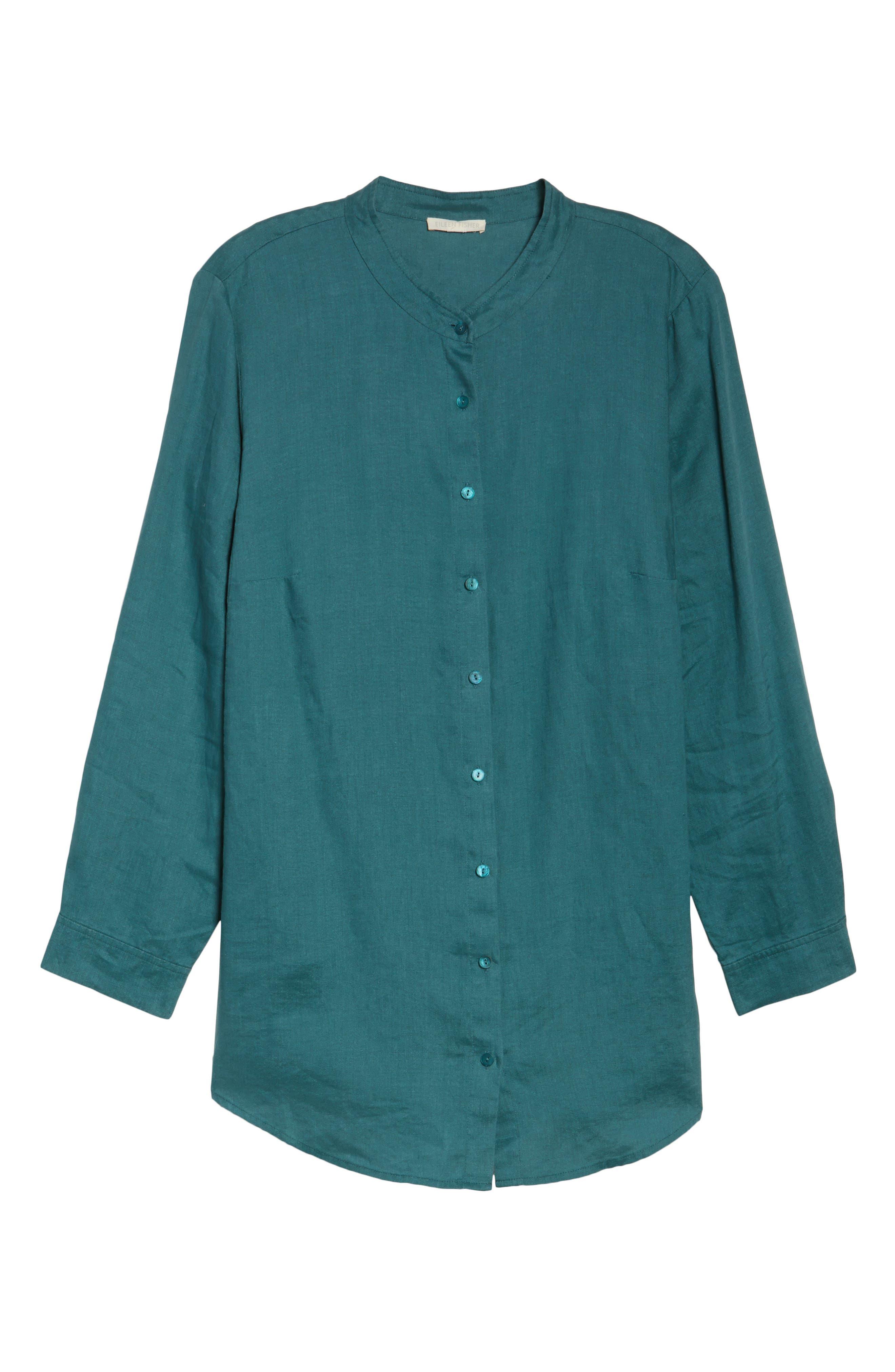 Organic Linen Tunic Shirt,                             Alternate thumbnail 17, color,