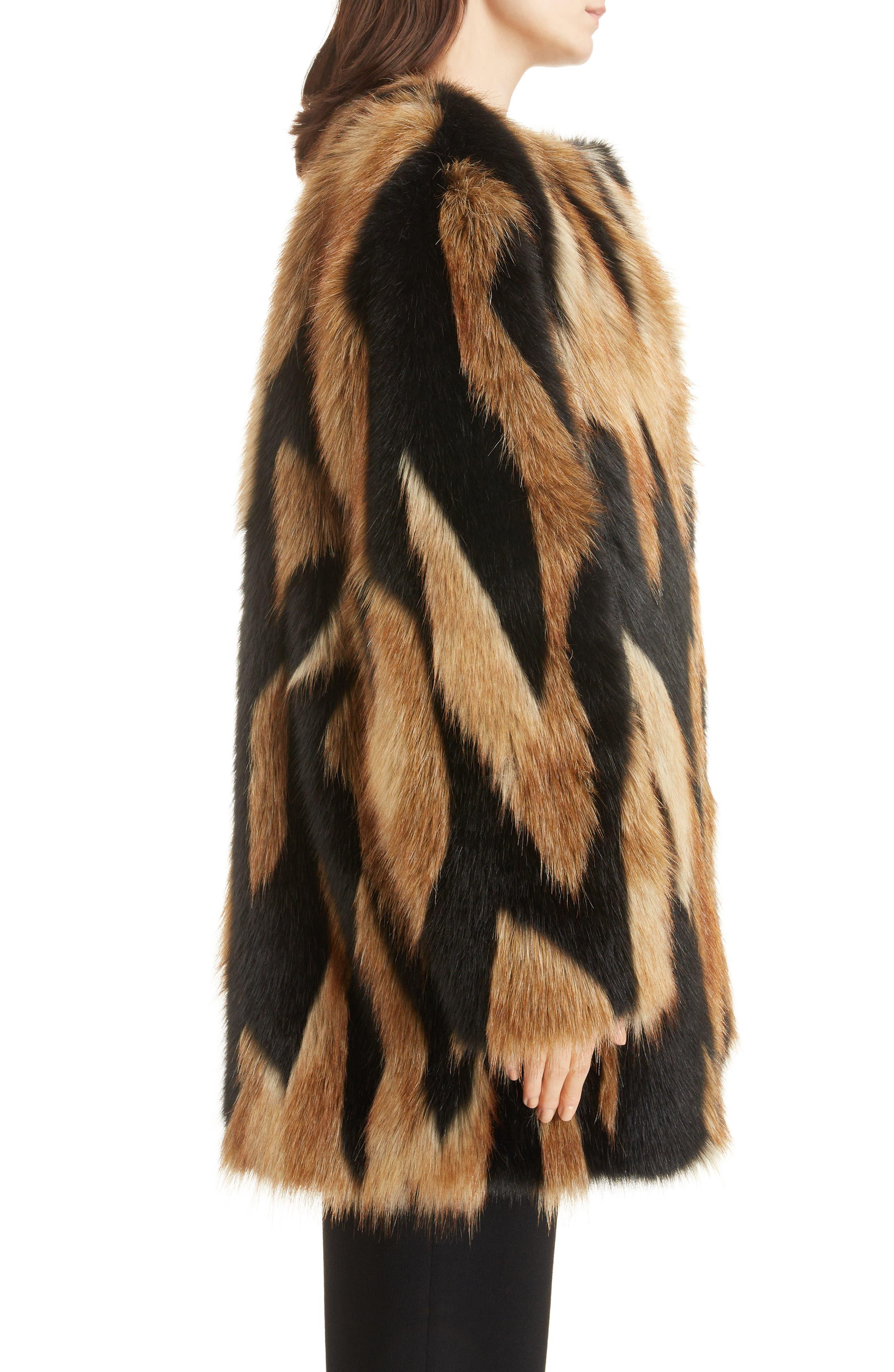 Bicolor Faux Fur Coat,                             Alternate thumbnail 3, color,                             002