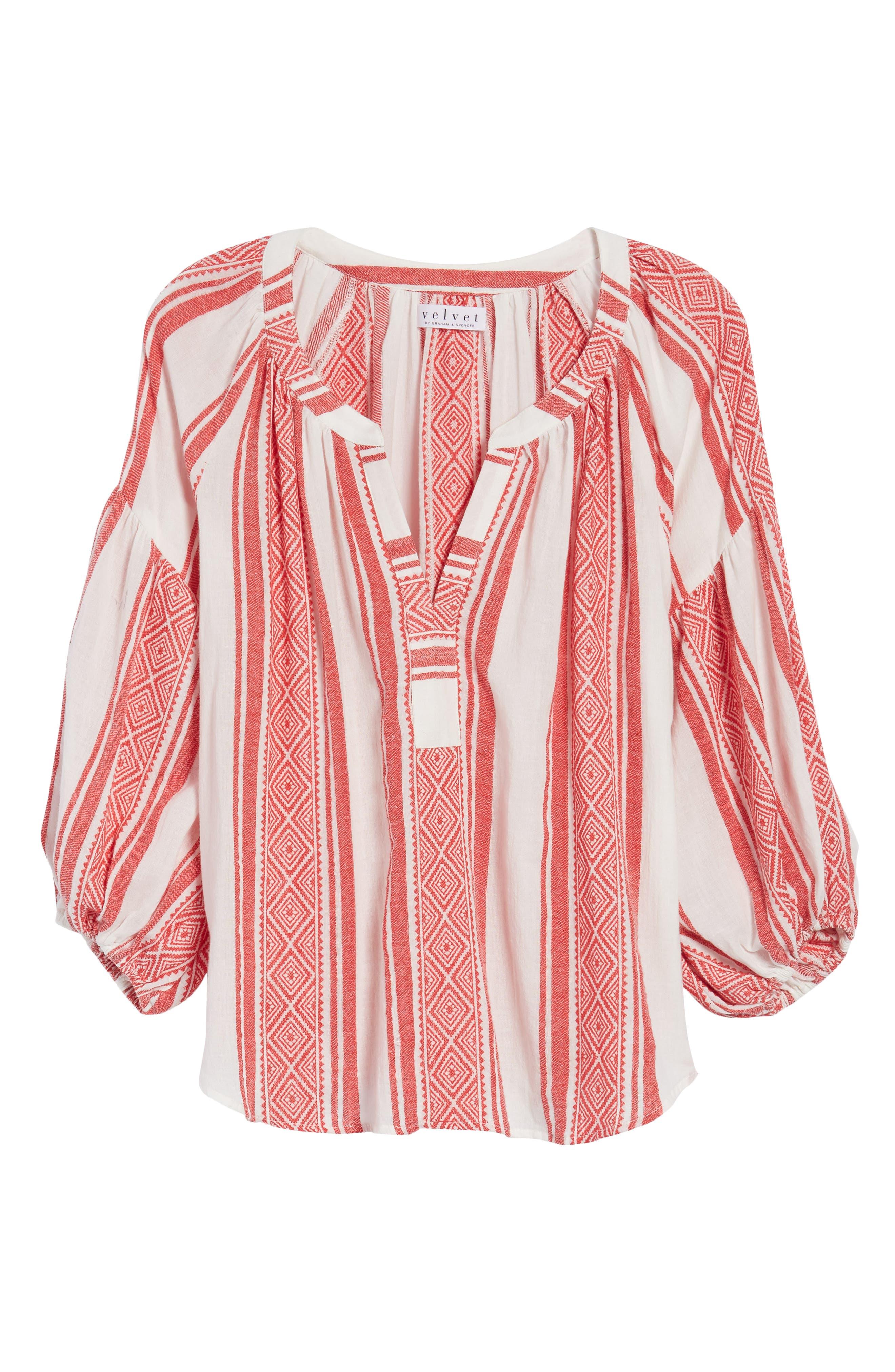 Jacquard Stripe Peasant Blouse,                             Alternate thumbnail 12, color,