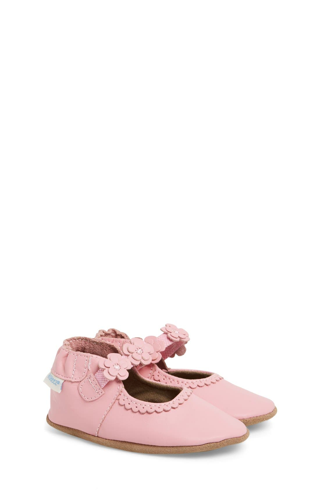 'Claire' Mary Jane Crib Shoe,                         Main,                         color, PRISM PINK