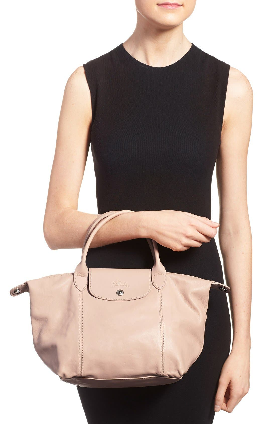 Small 'Le Pliage Cuir' Leather Top Handle Tote,                             Alternate thumbnail 34, color,