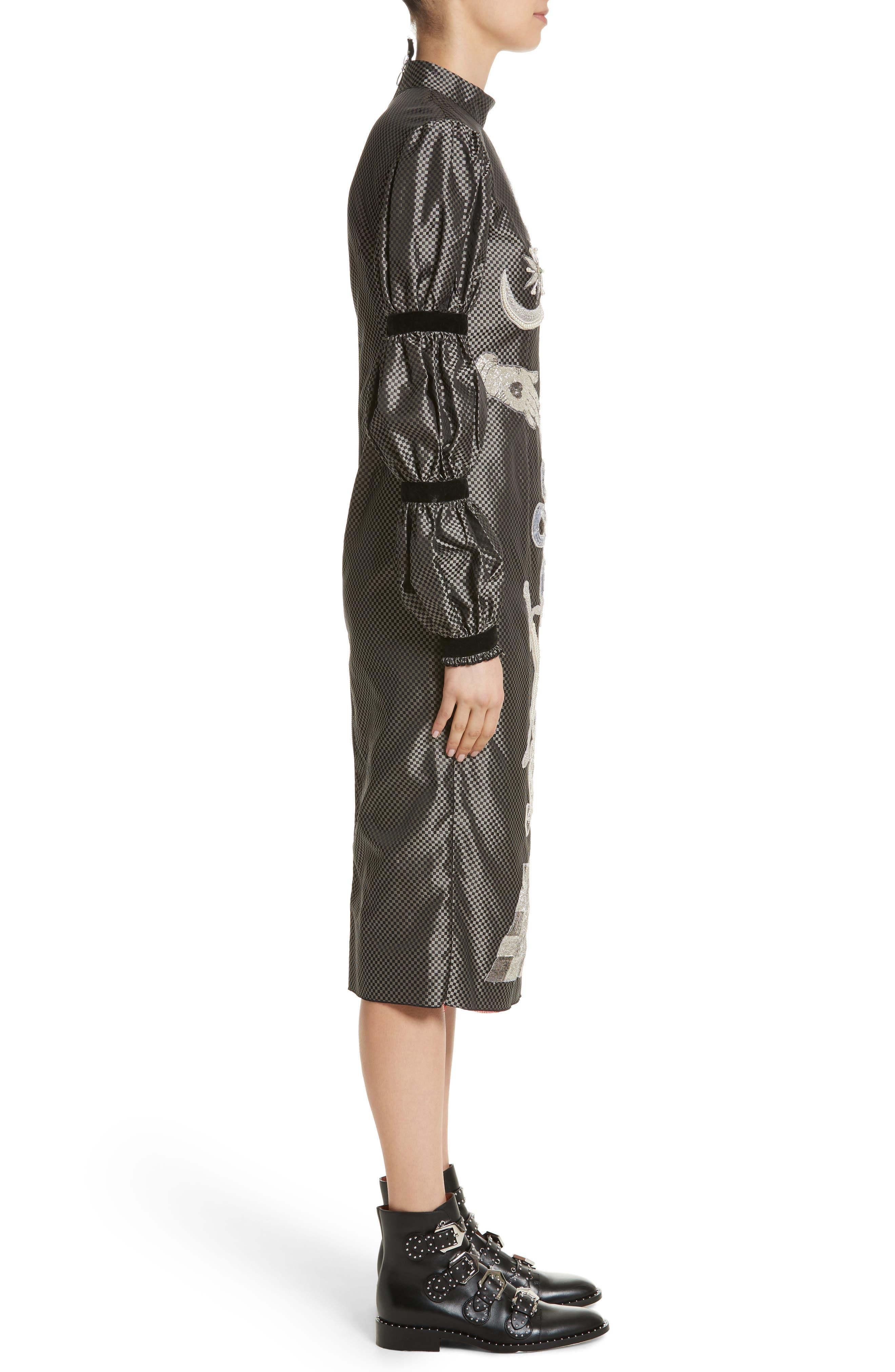 DILARA FINDIKOGLU,                             Alien Goddess Embellished Silk Dress,                             Alternate thumbnail 3, color,                             040