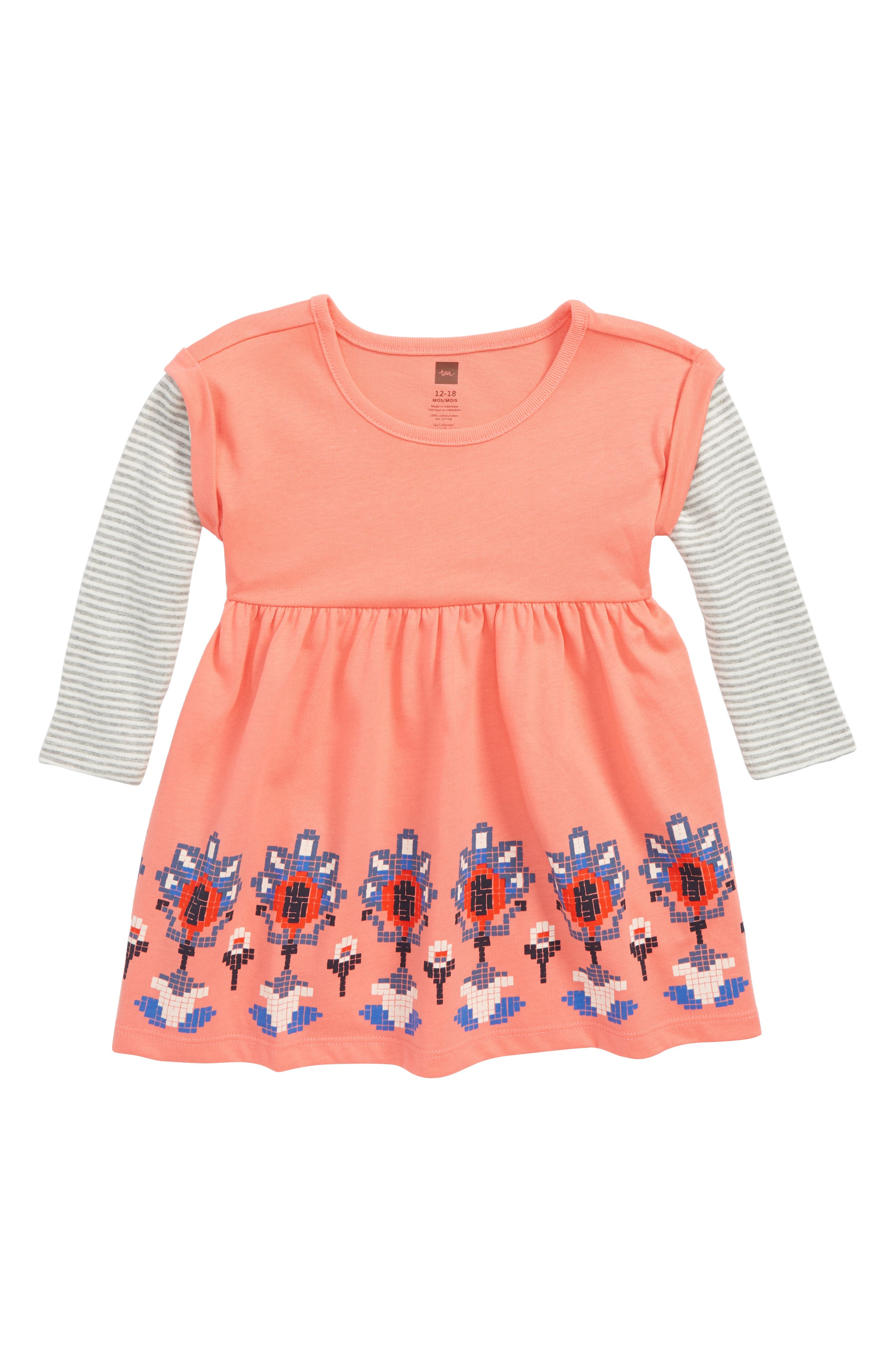 Layered Sleeve Dress,                             Main thumbnail 1, color,                             GRAPEFRUIT