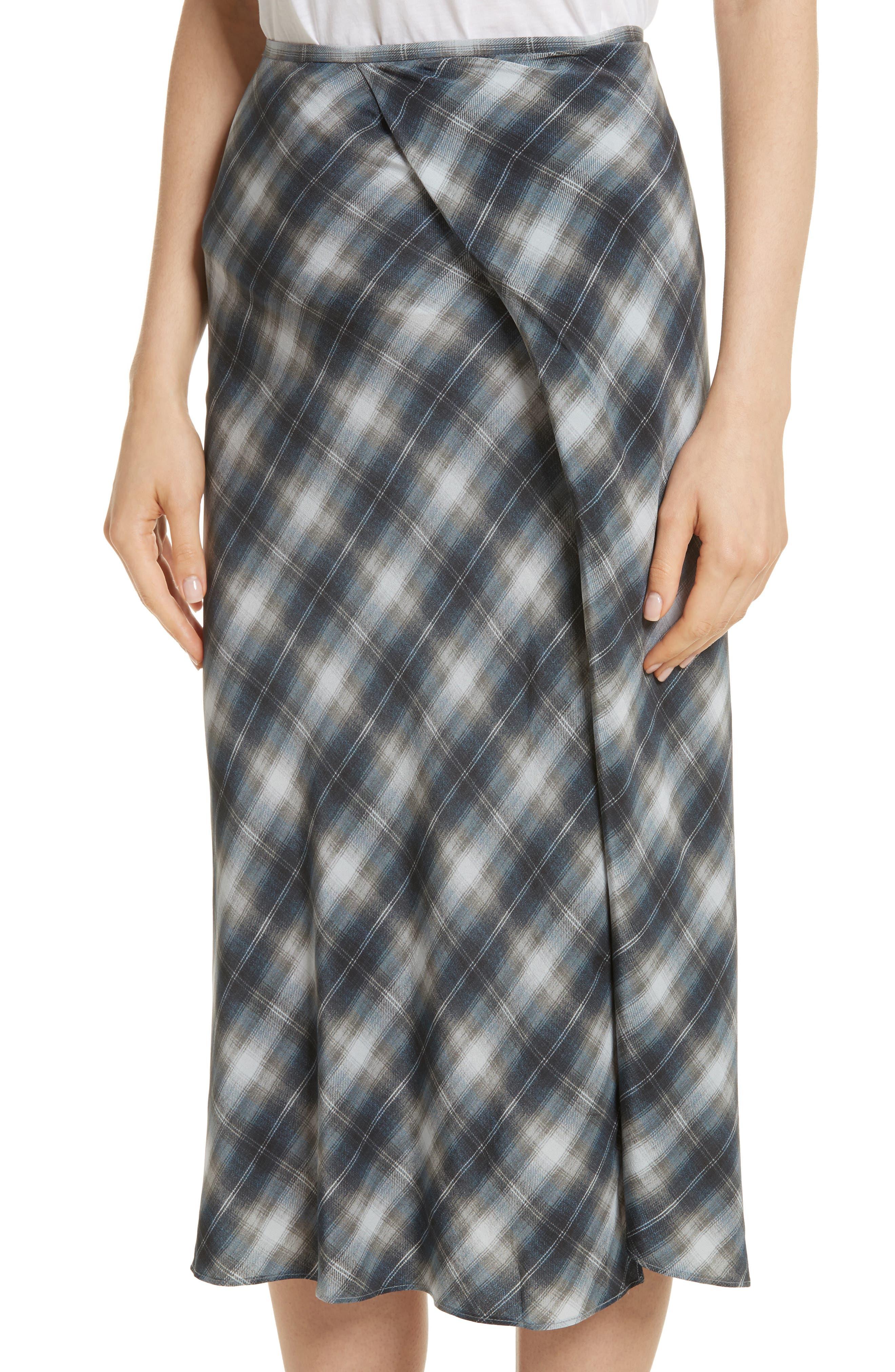 Shadow Plaid Midi Silk Skirt,                             Alternate thumbnail 4, color,                             409
