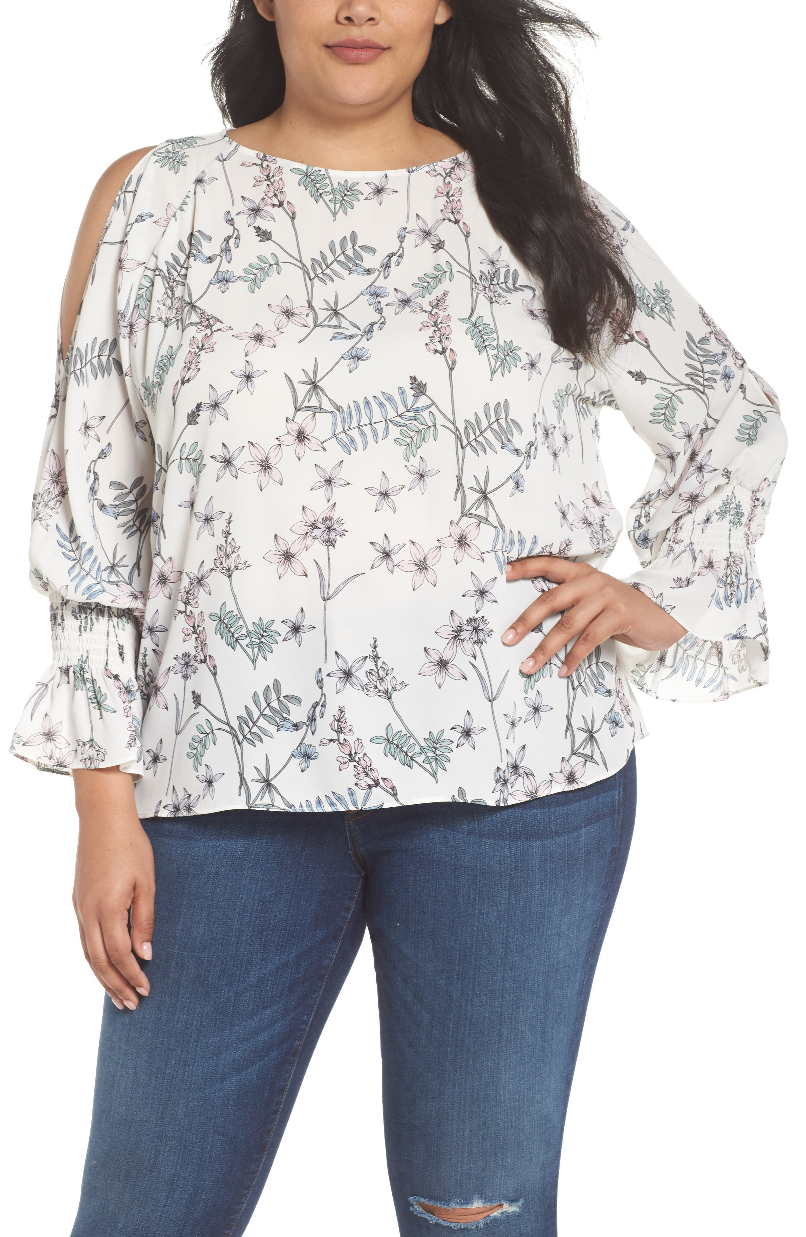 Cold Shoulder Flare Cuff Top,                         Main,                         color, NEW IVORY