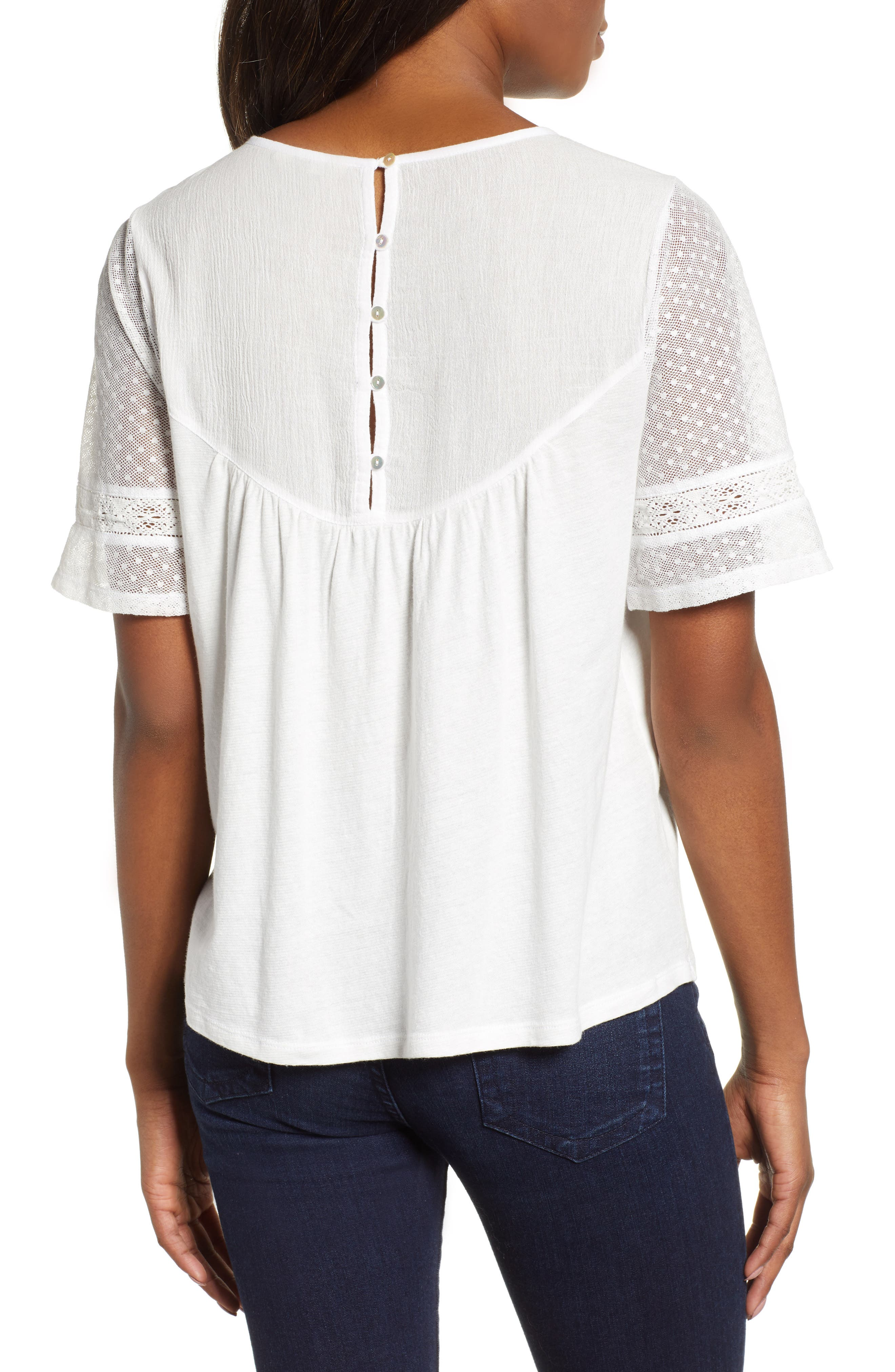 LUCKY BRAND,                             Embroidered Yoke Peasant Top,                             Alternate thumbnail 2, color,                             LUCKY WHITE