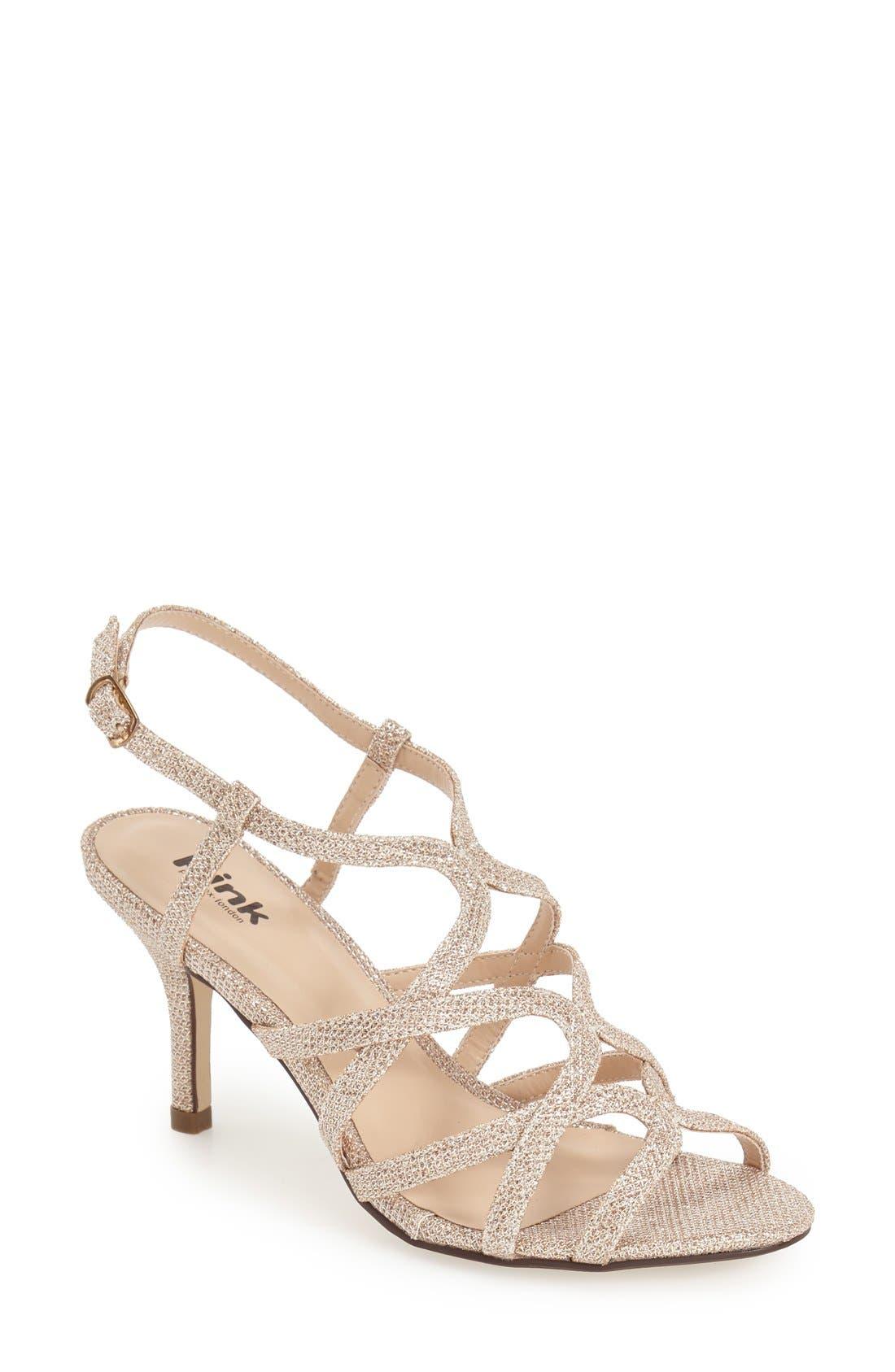 'Rich Glitter' Sandal,                         Main,                         color, CHAMPAGNE GLITTER MESH