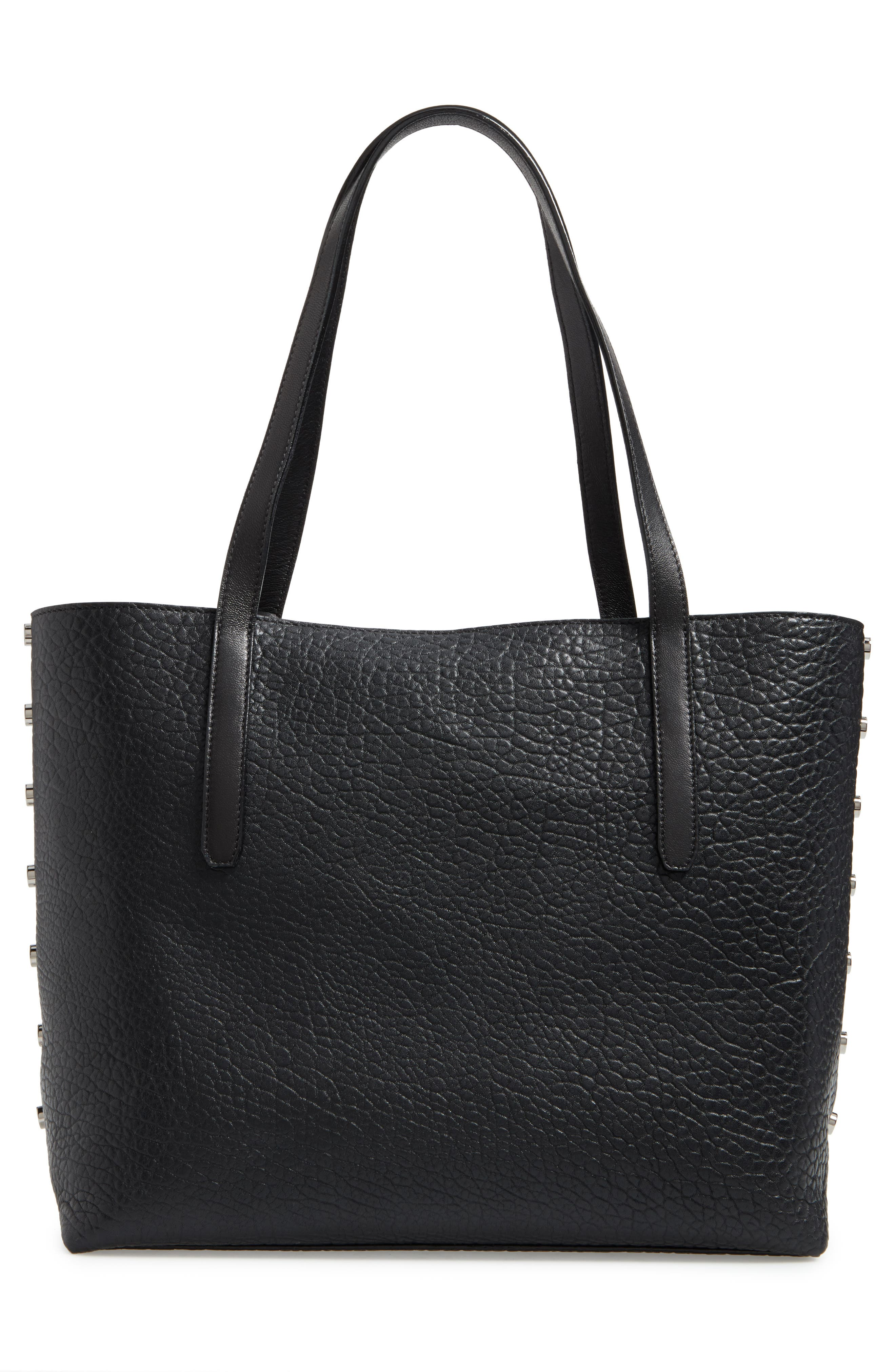 Star Studded Leather Tote,                             Alternate thumbnail 3, color,                             100