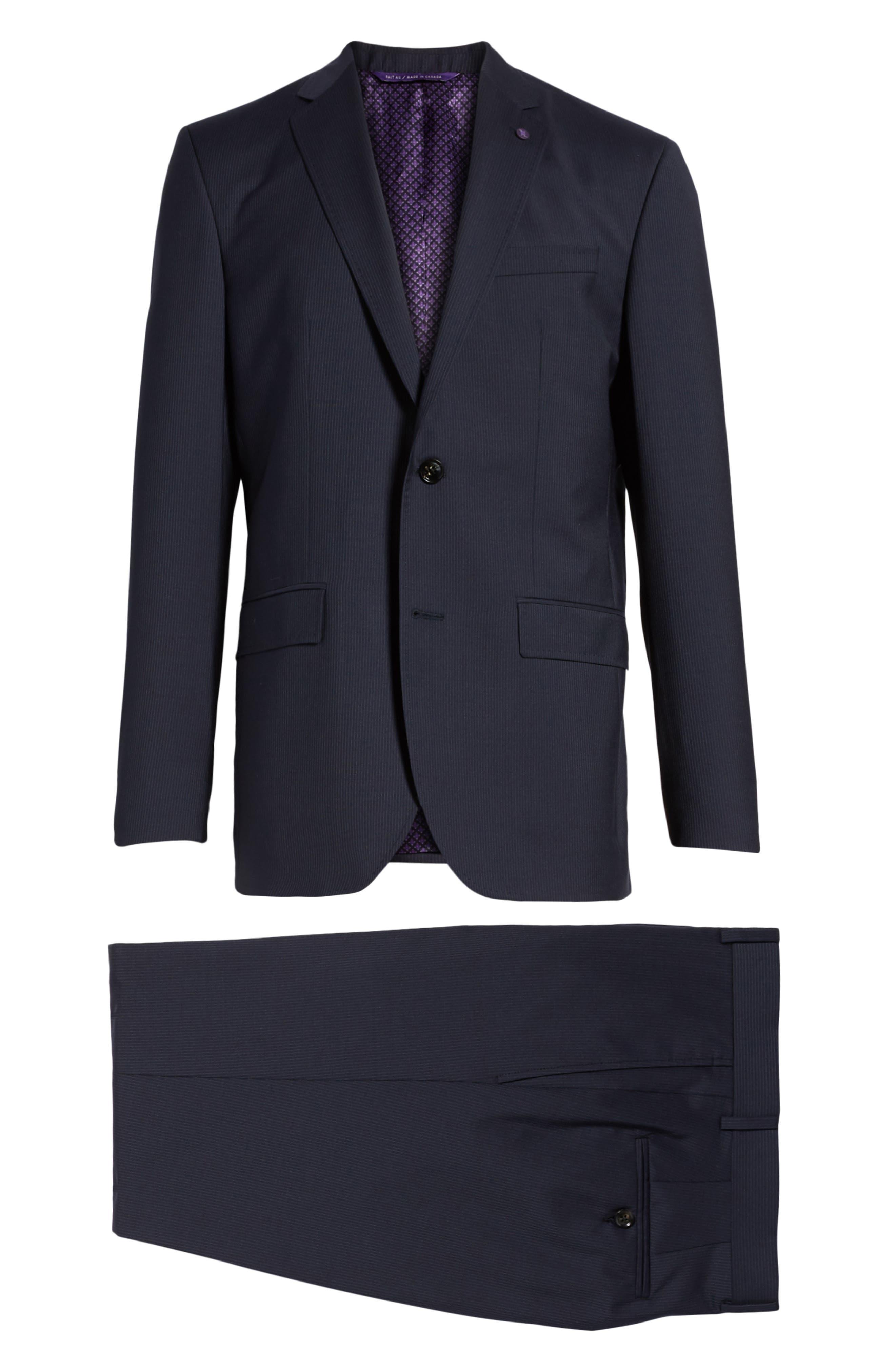 Jay Trim Fit Stripe Wool Suit,                             Alternate thumbnail 9, color,                             NAVY