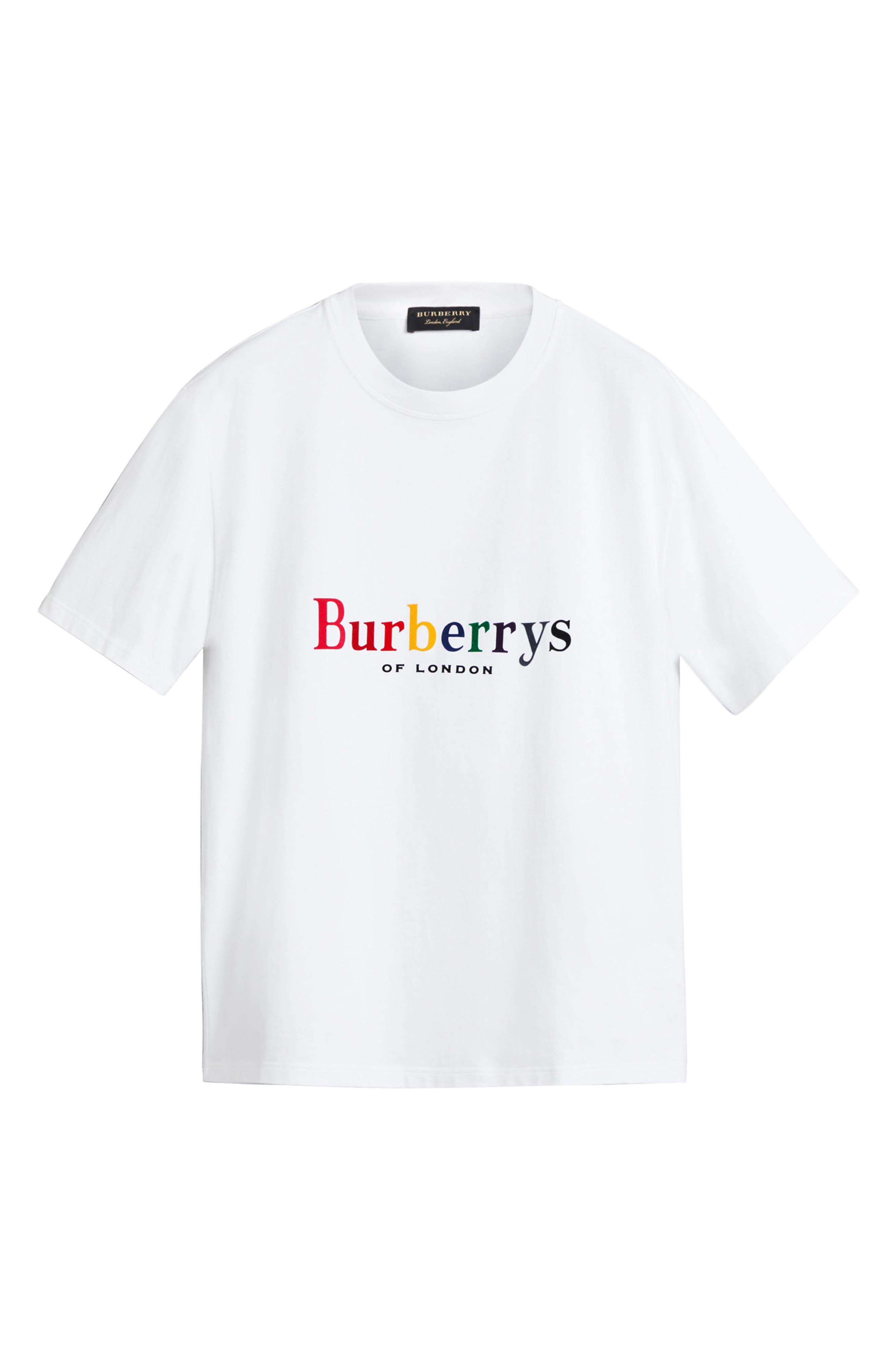 BURBERRY,                             Rainbow Logo Tee,                             Alternate thumbnail 4, color,                             100